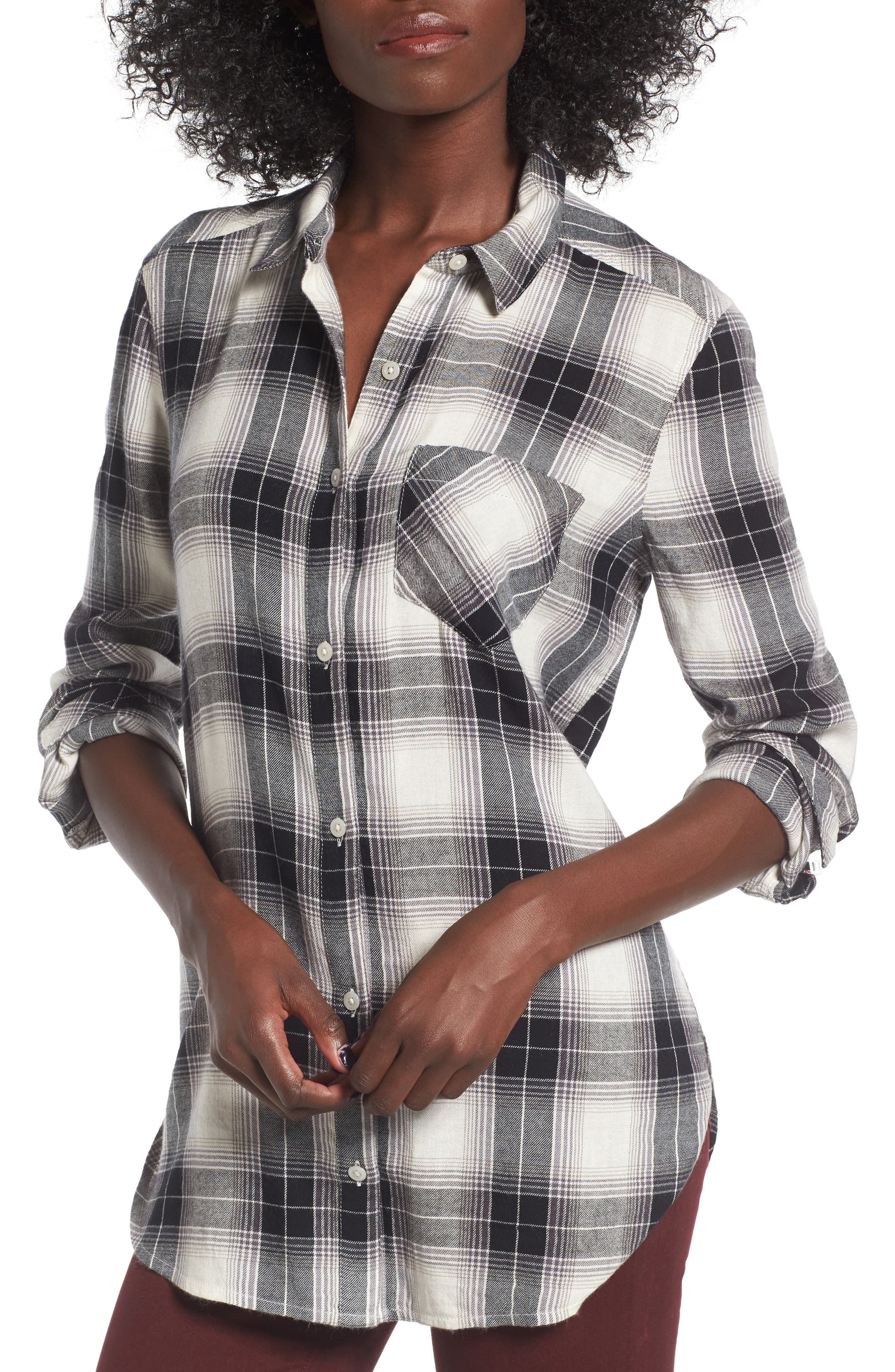 Plaid Cotton Blend Shirt,                         Main,                         color, Ivory Egret Schy Plaid