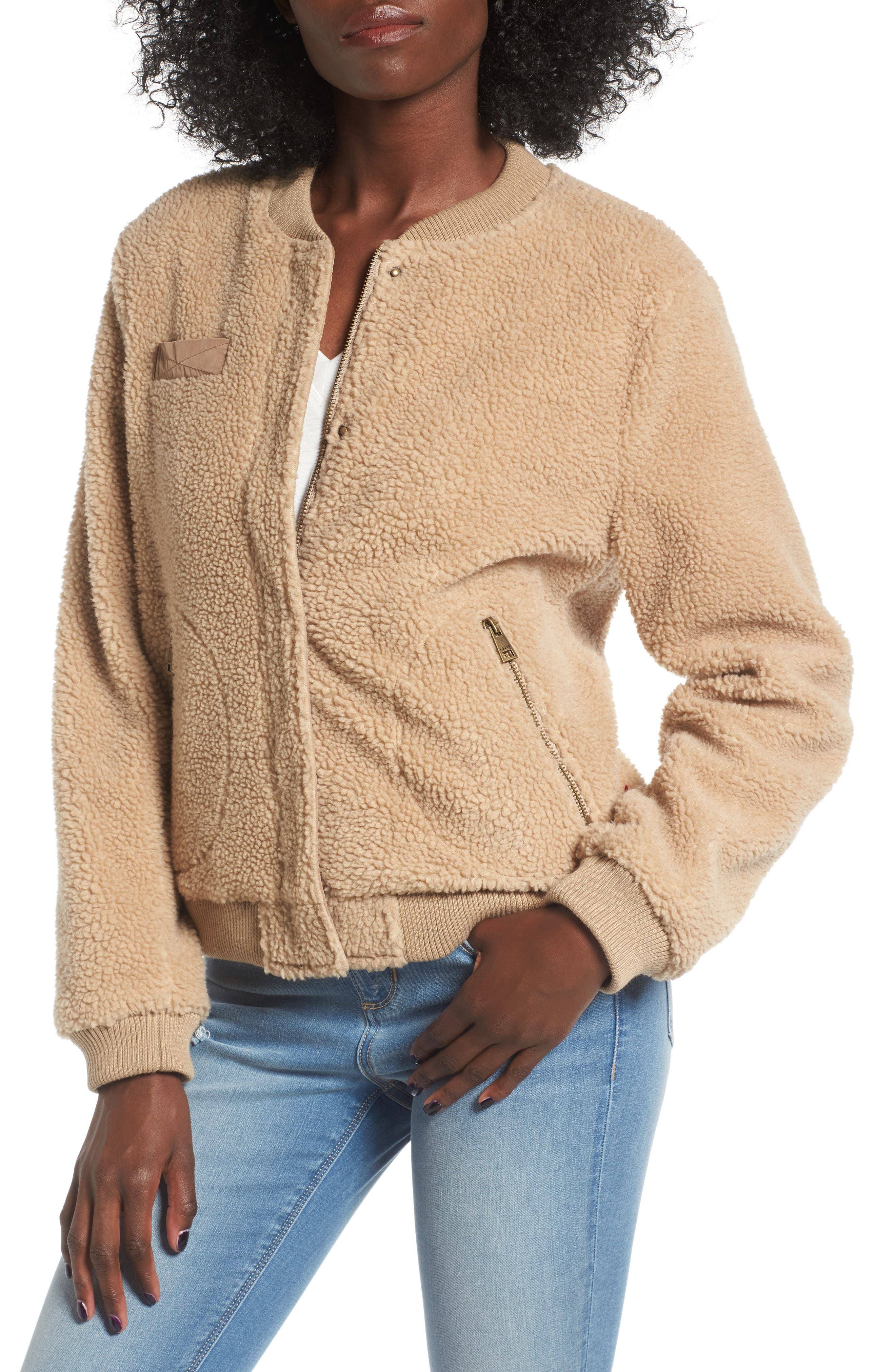 Faux Shearling Bomber Jacket,                         Main,                         color, Camel