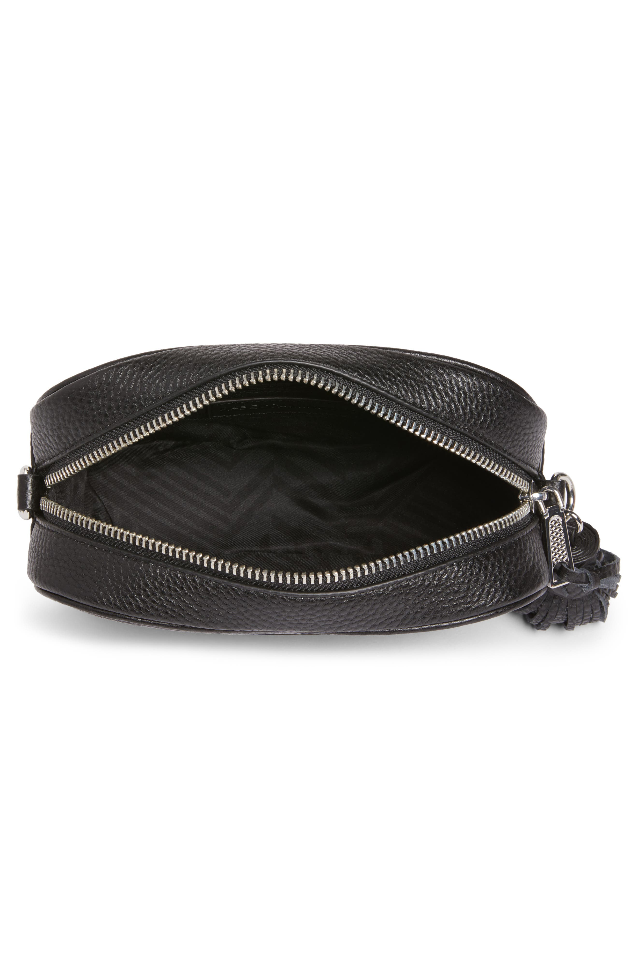 Leather Camera Bag with Guitar Strap,                             Alternate thumbnail 5, color,                             Black/ Silver Hardware