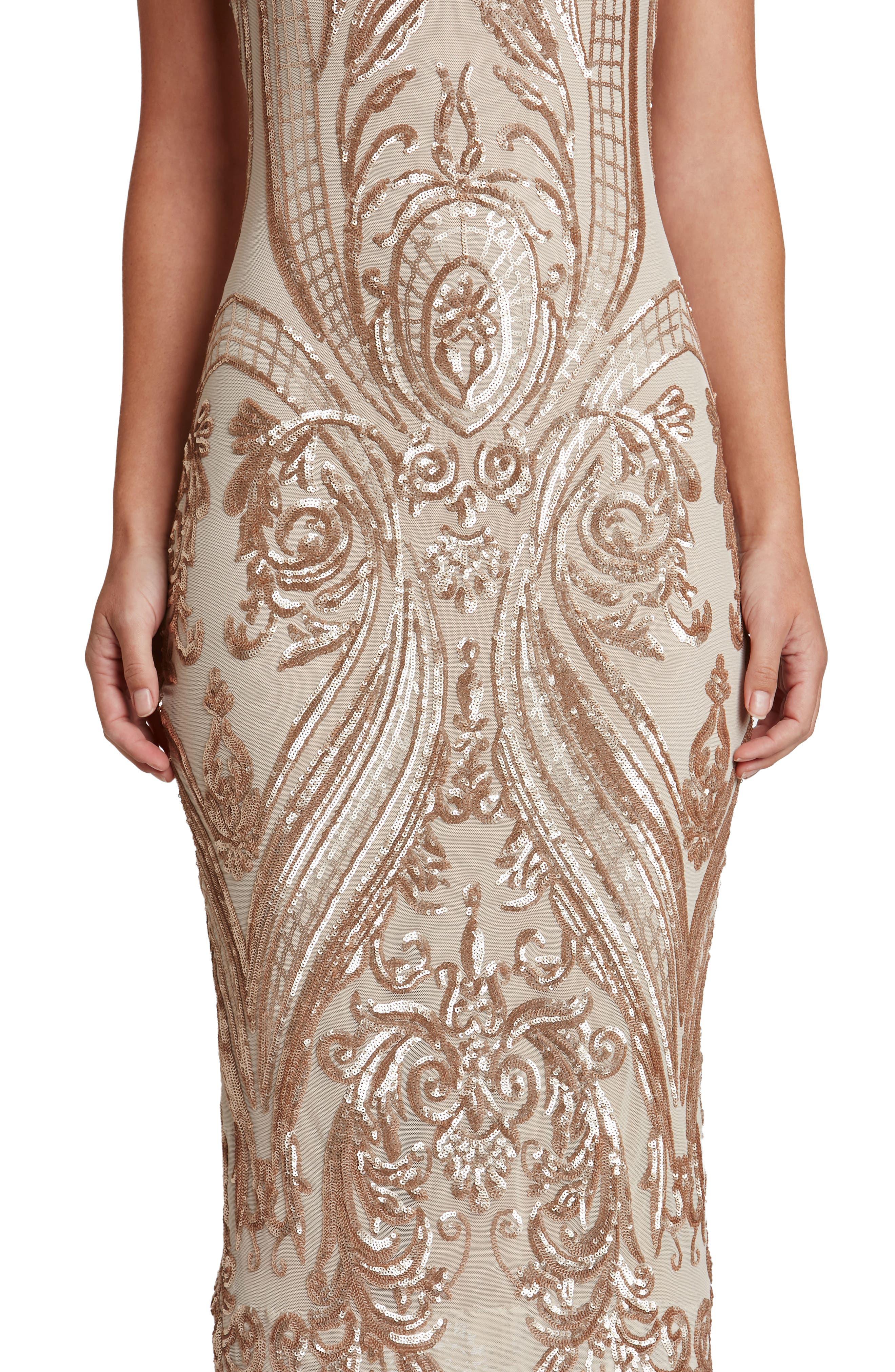 Brandi Sequin Body-Con Dress,                             Alternate thumbnail 5, color,                             Champagne/ Nude