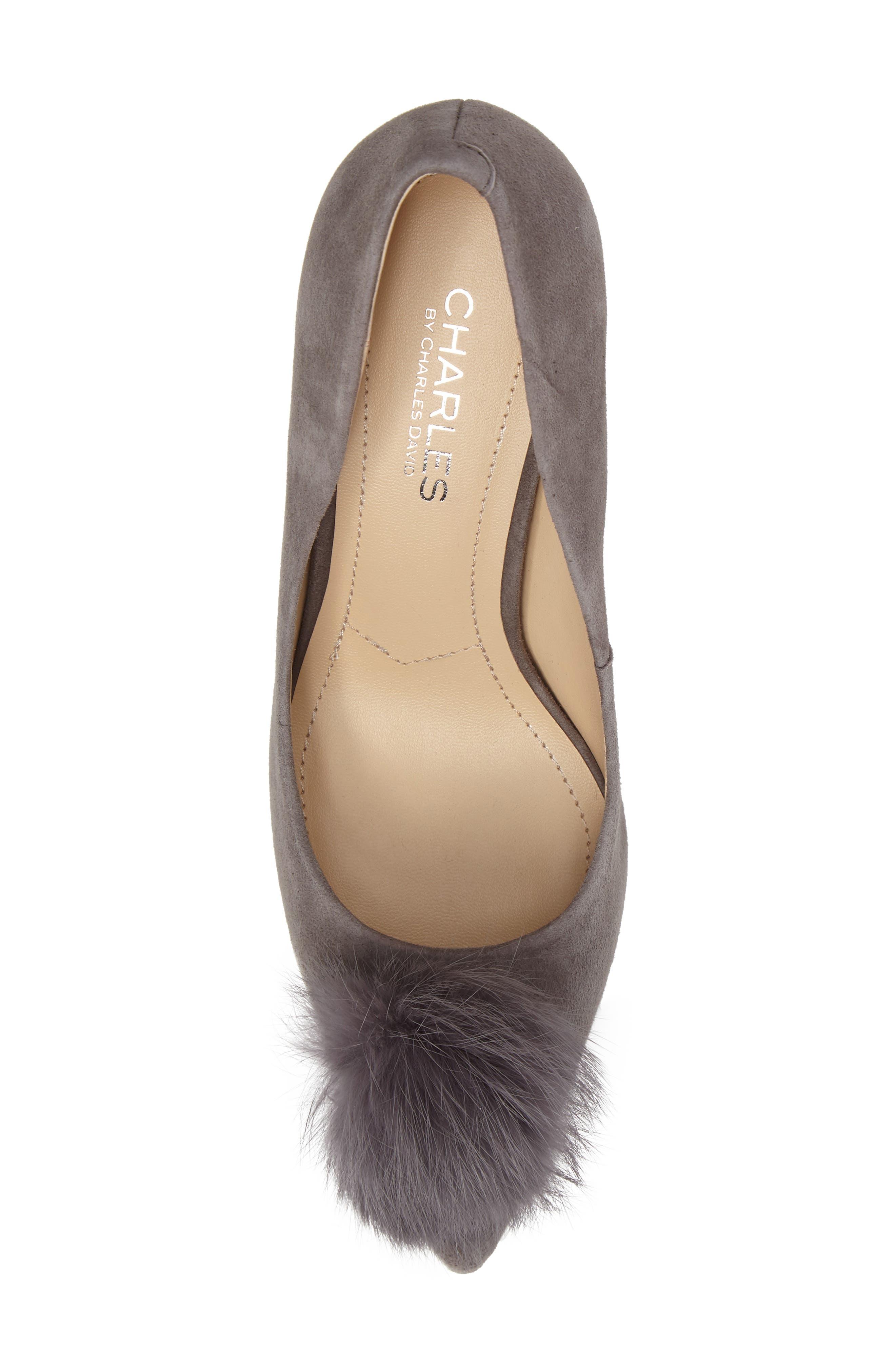 Sadie Genuine Rabbit Fur Pom Pump,                             Alternate thumbnail 5, color,                             Slate Suede