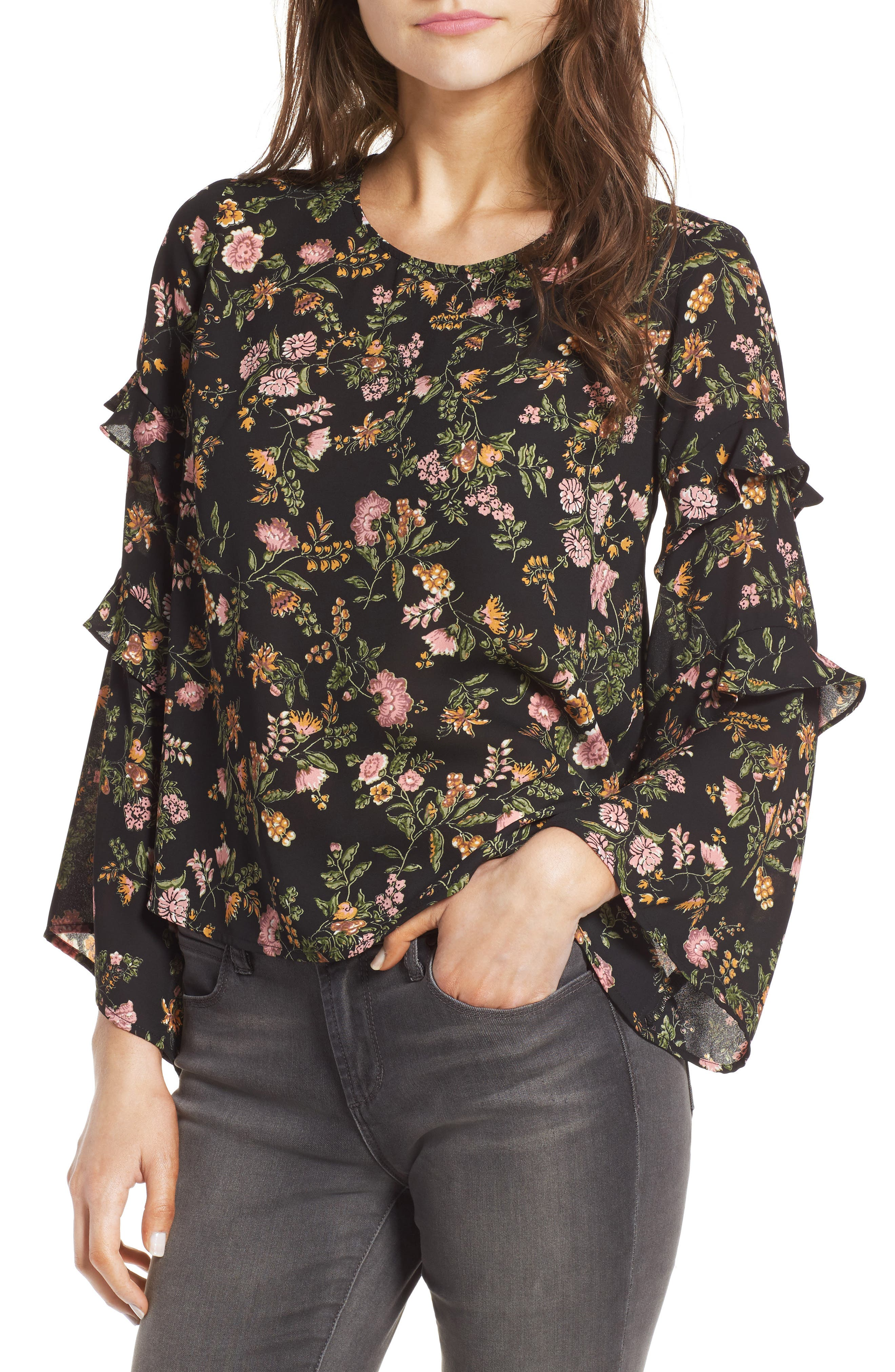 Alternate Image 1 Selected - Lush Ruffle Bell Sleeve Blouse