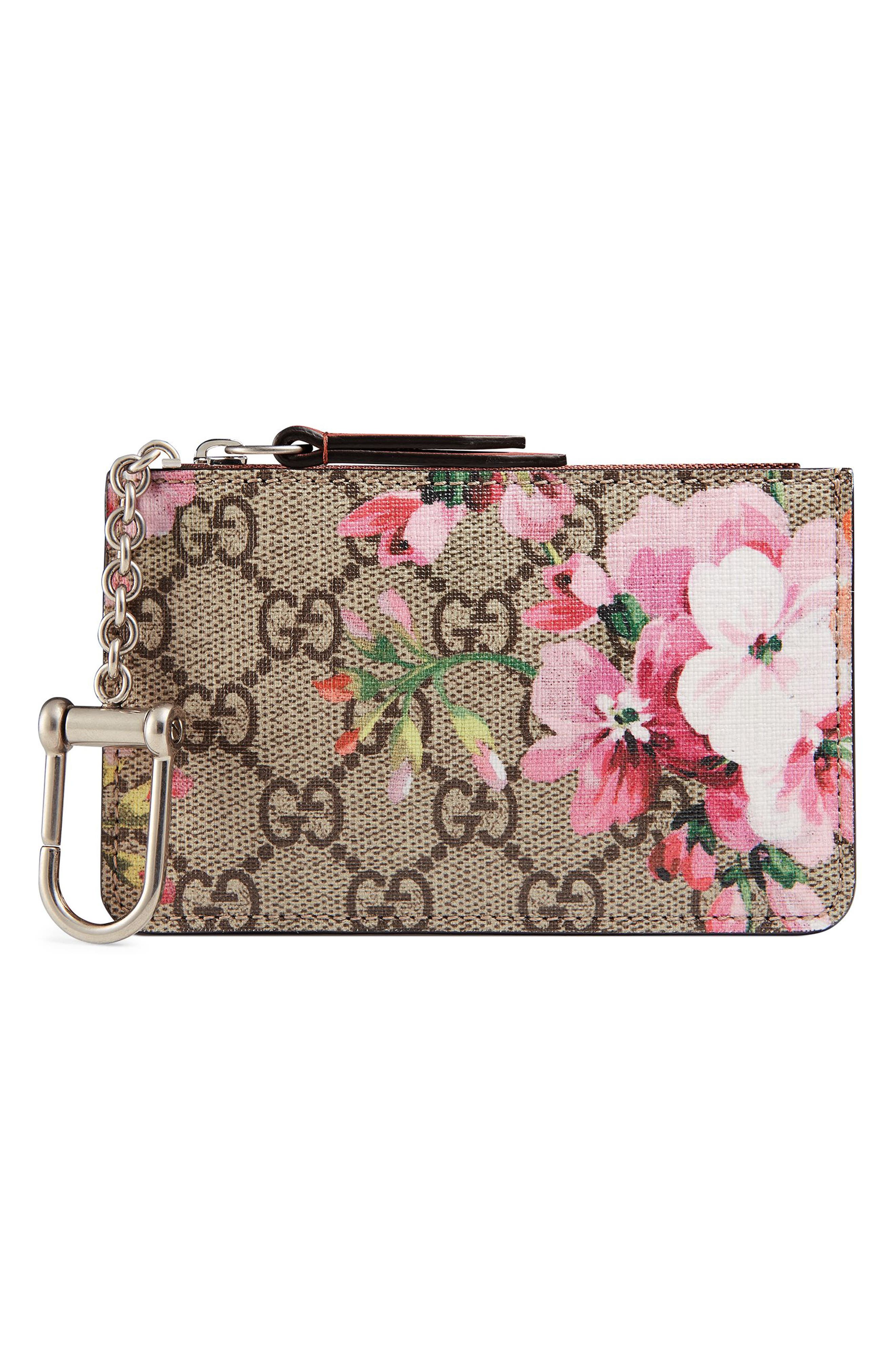 Blooms Key Case,                         Main,                         color, Bei Ebony/Multi Rose
