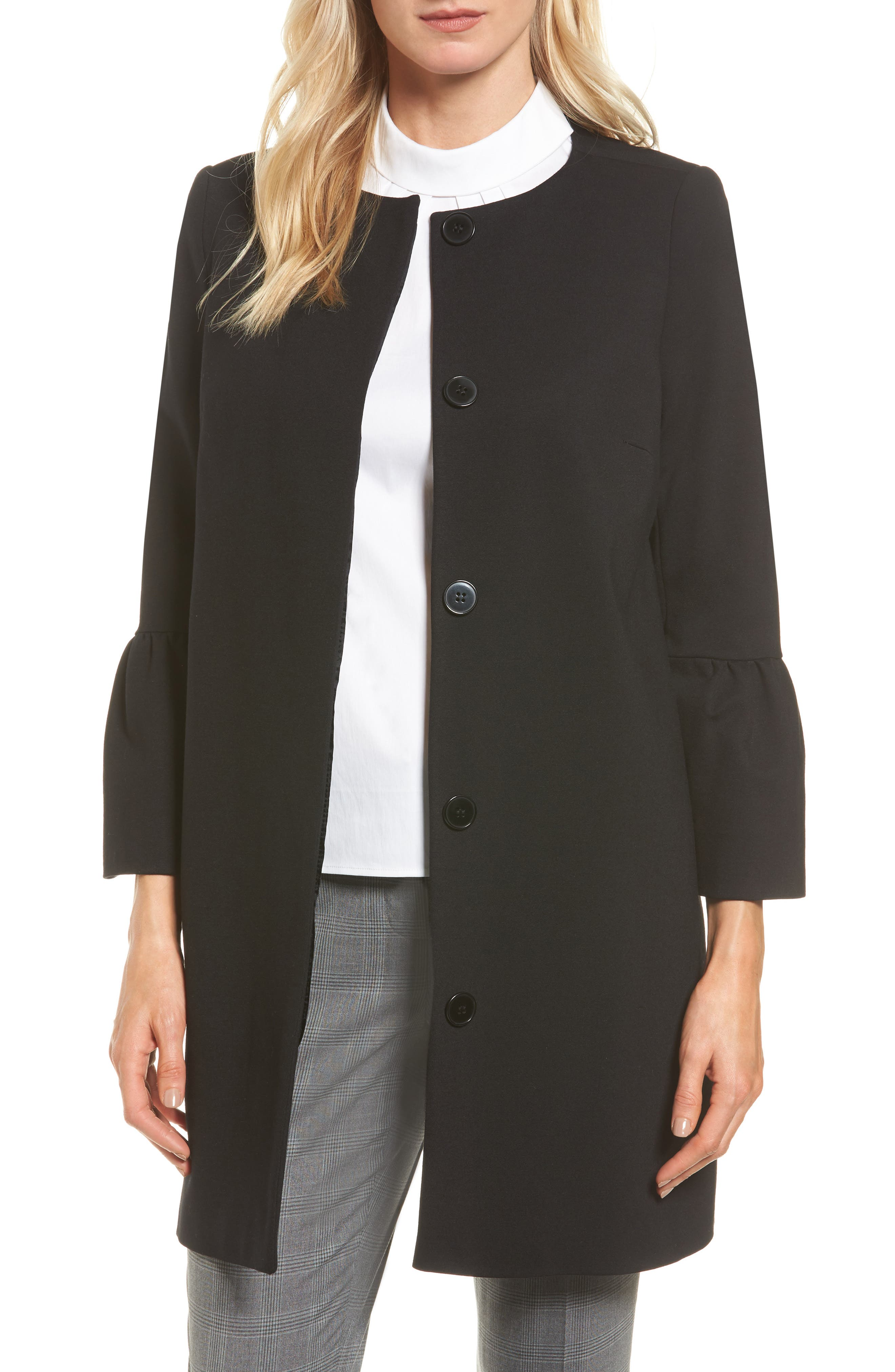 Trumpet Sleeve Coat,                         Main,                         color, Black