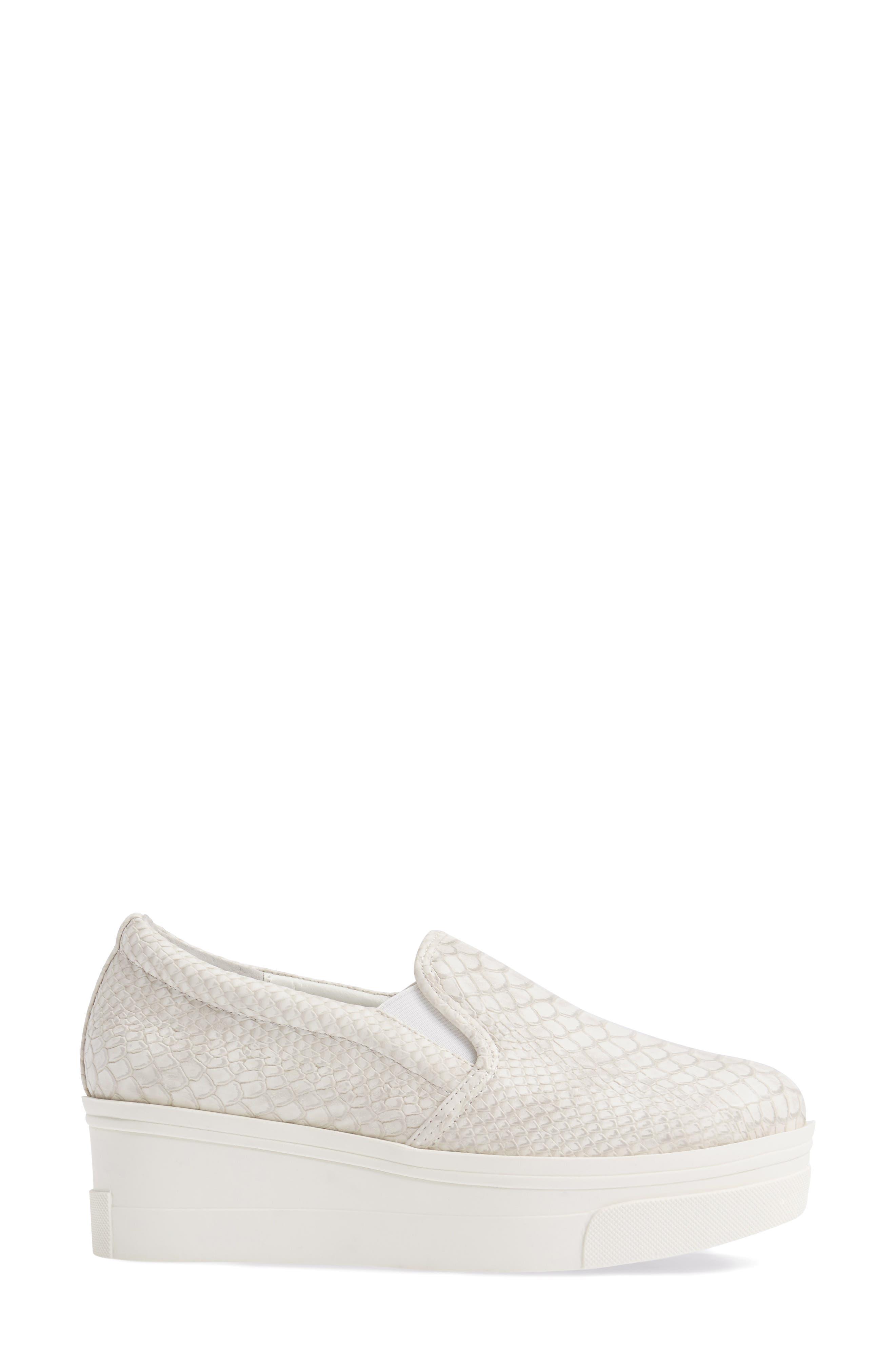 Genna Slip-On Sneaker,                             Alternate thumbnail 3, color,                             White Embossed Leather