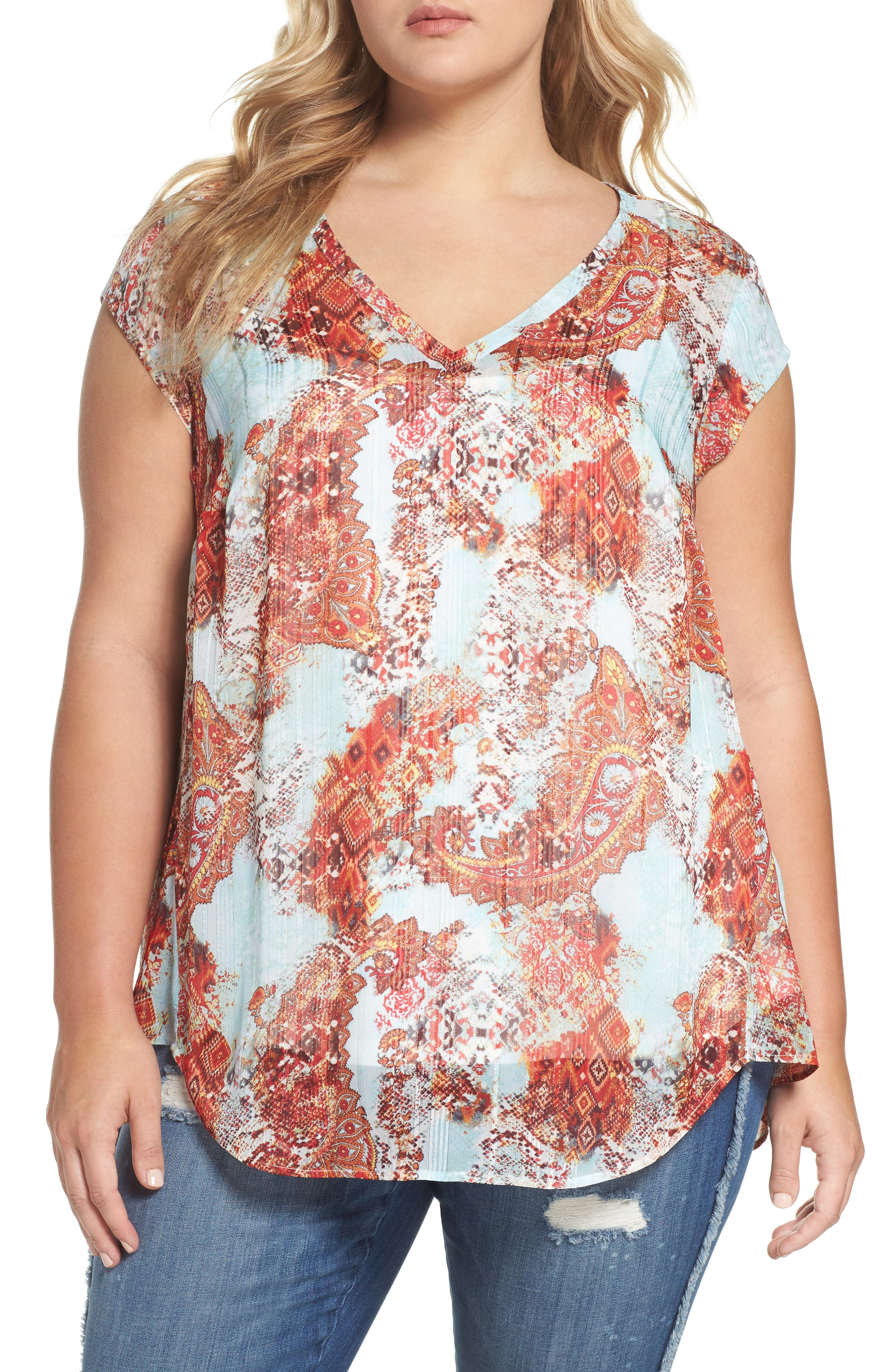 Daniel Rainn Metallic Print Cap Sleeve Top (Plus Size)