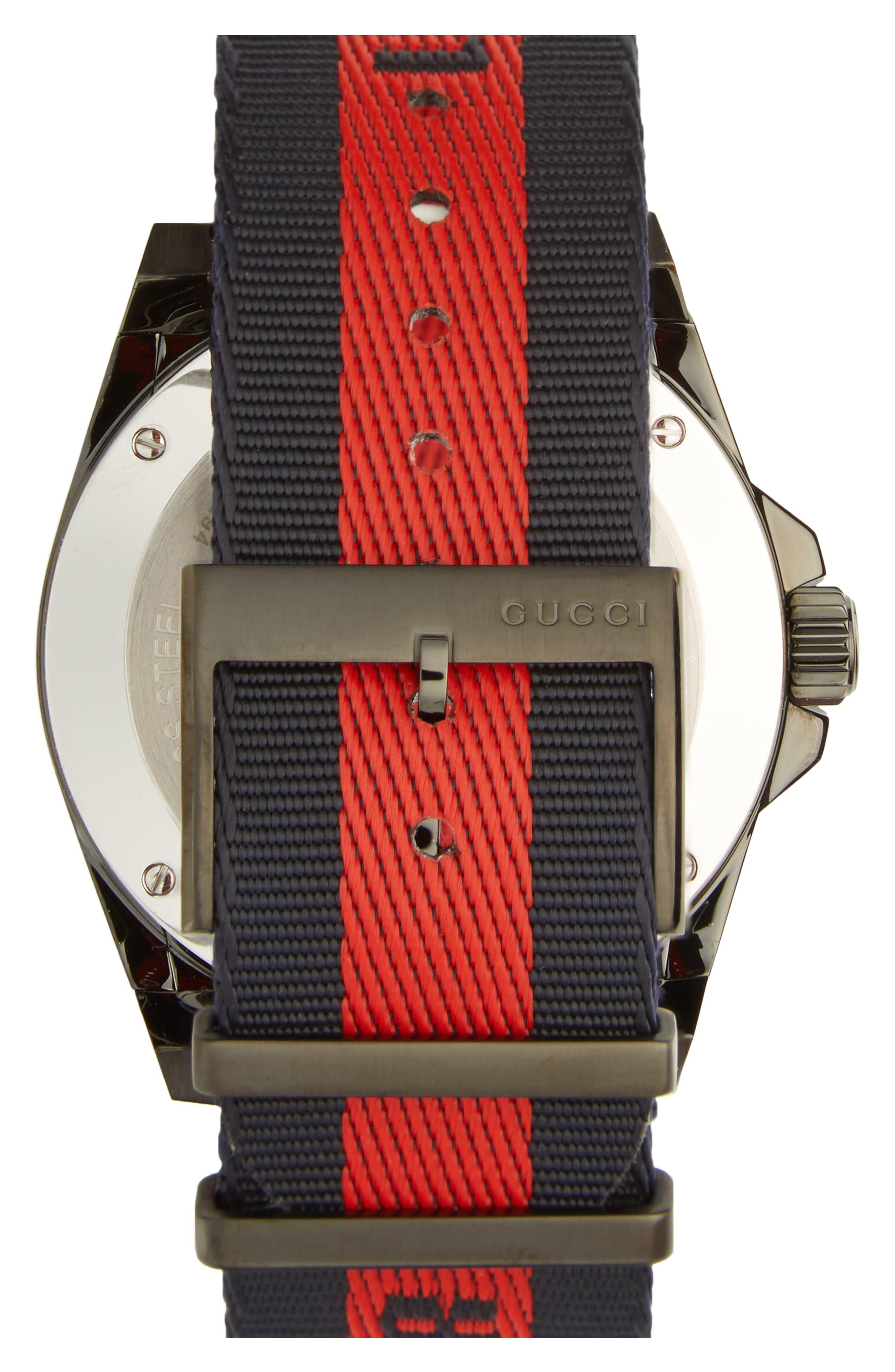 Alternate Image 2  - Gucci Tiger Insignia Web Strap Watch, 45mm