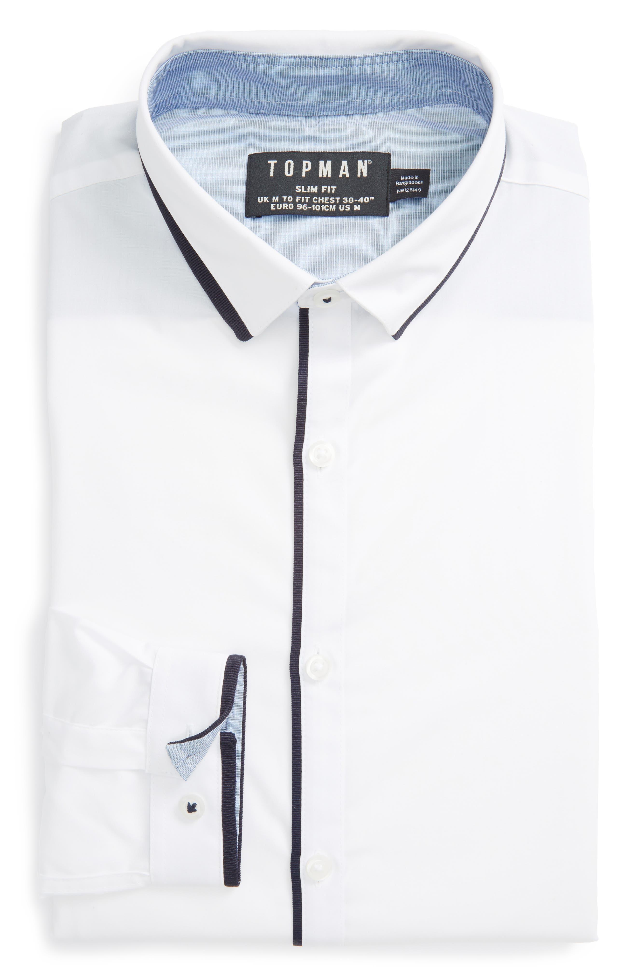 Alternate Image 1 Selected - Topman White Contrast Dress Shirt