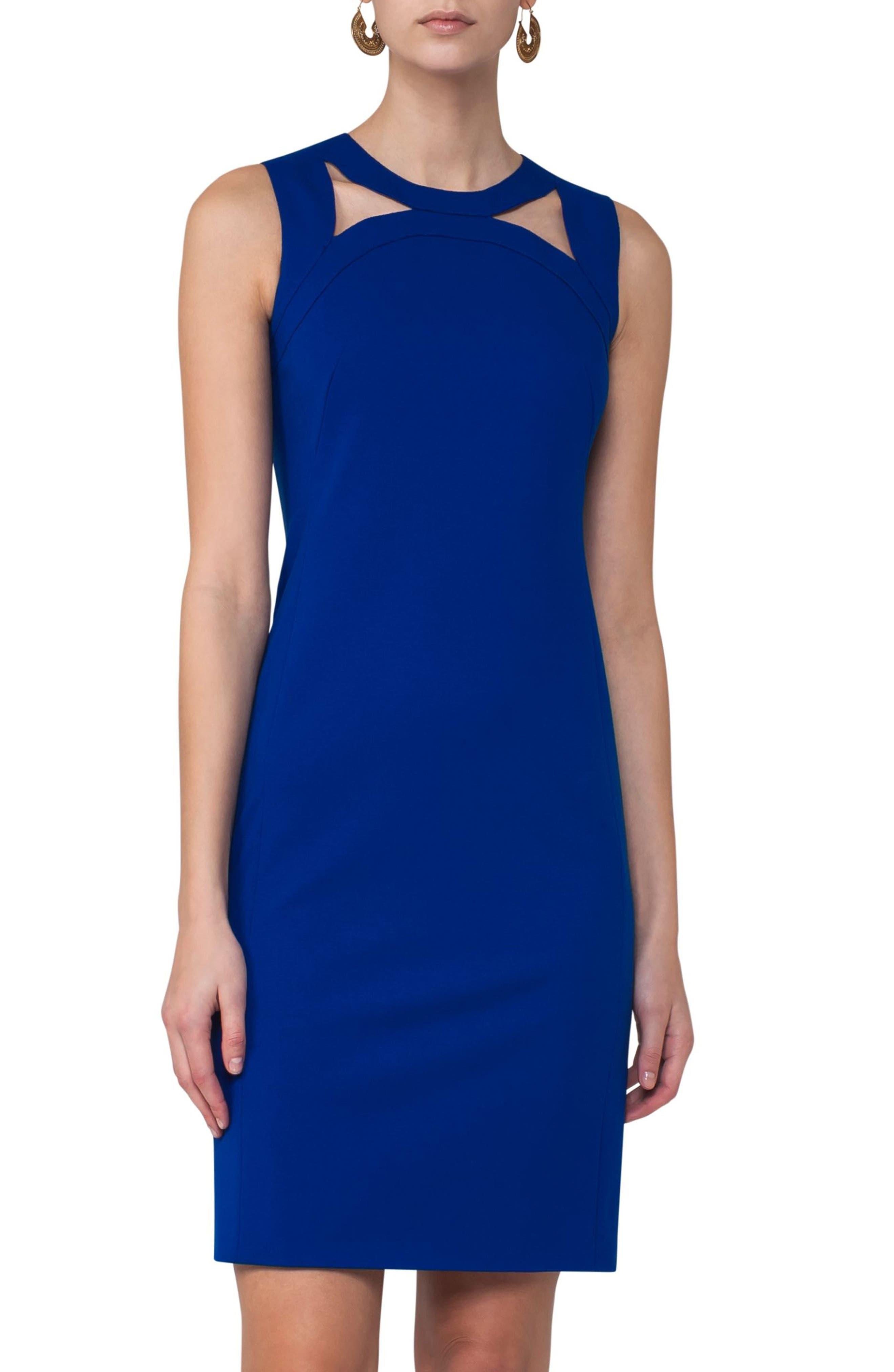 Cutout Neckline Jersey Dress,                         Main,                         color, Blue