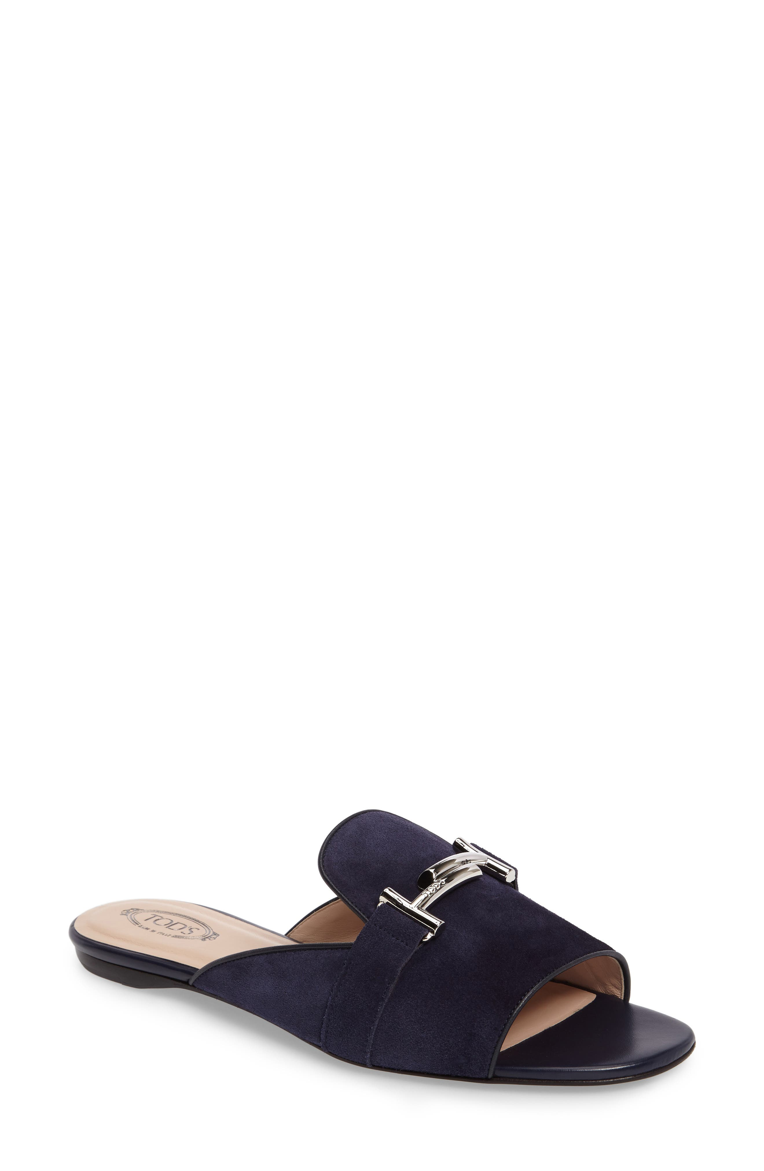 Tod's Double T Open Toe Loafer Mule (Women)