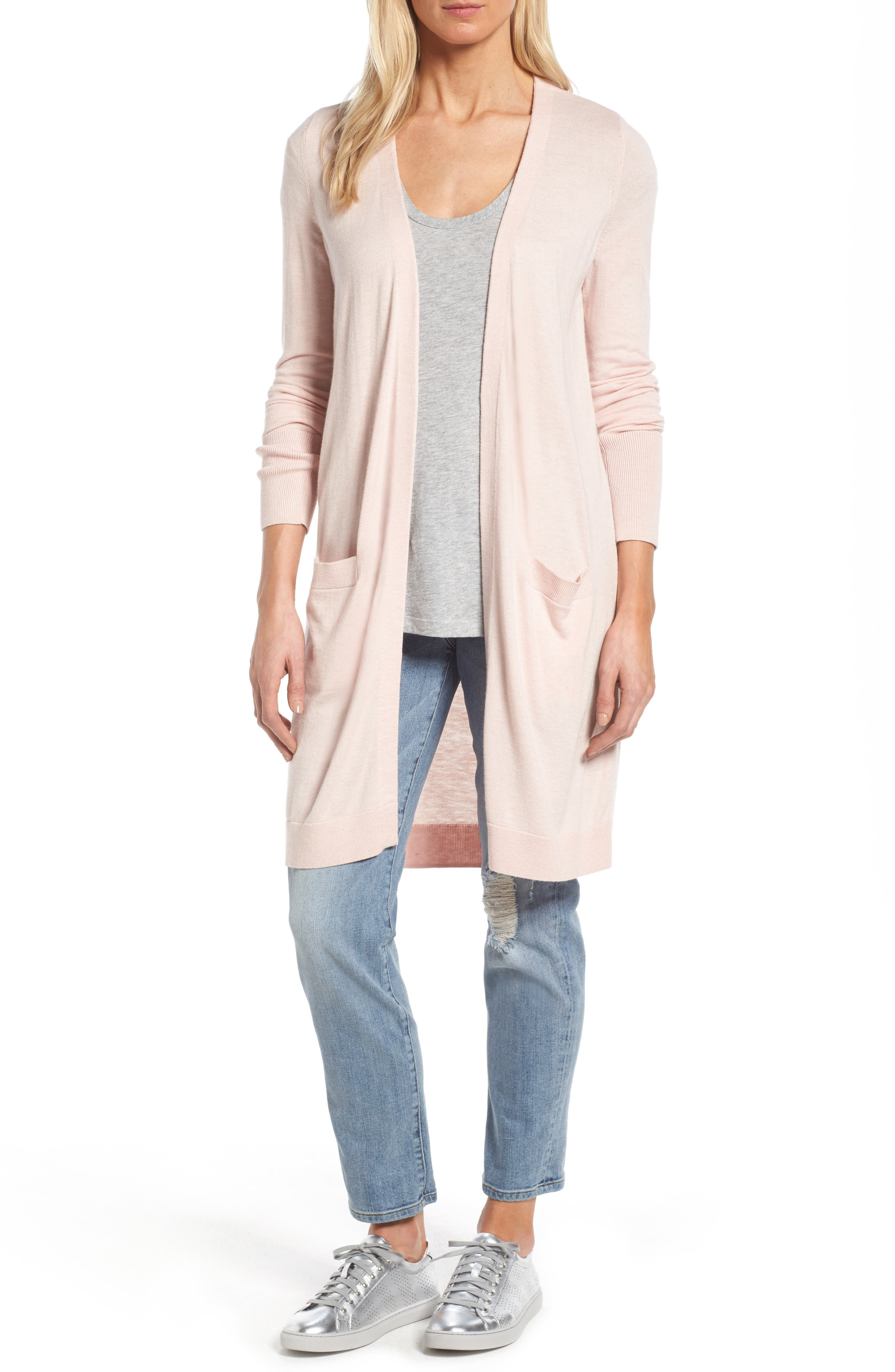 Halogen® Long Open Front Cardigan (Regular & Petite)
