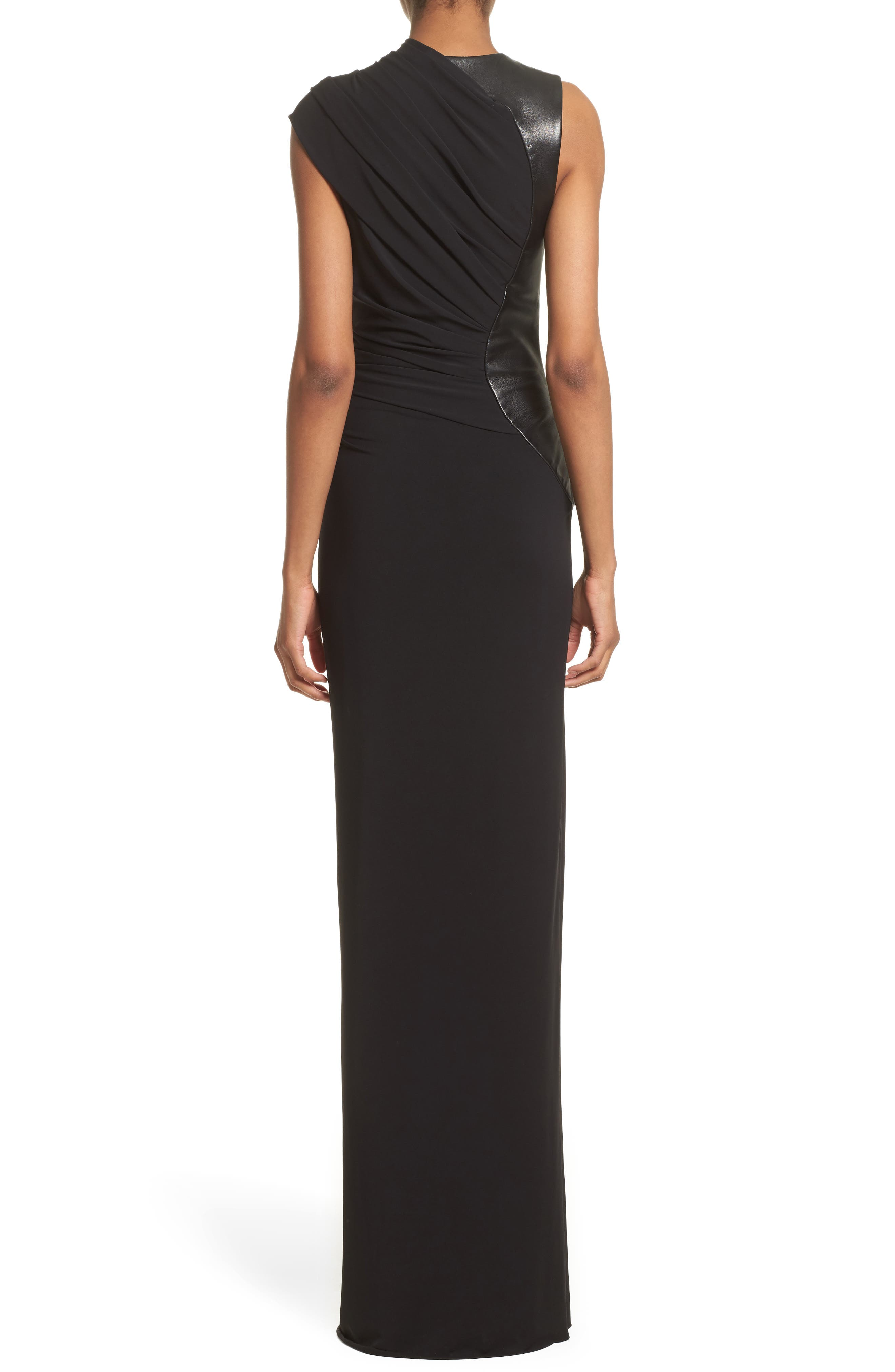 Alternate Image 2  - Alexander Wang Draped Jersey & Leather Gown