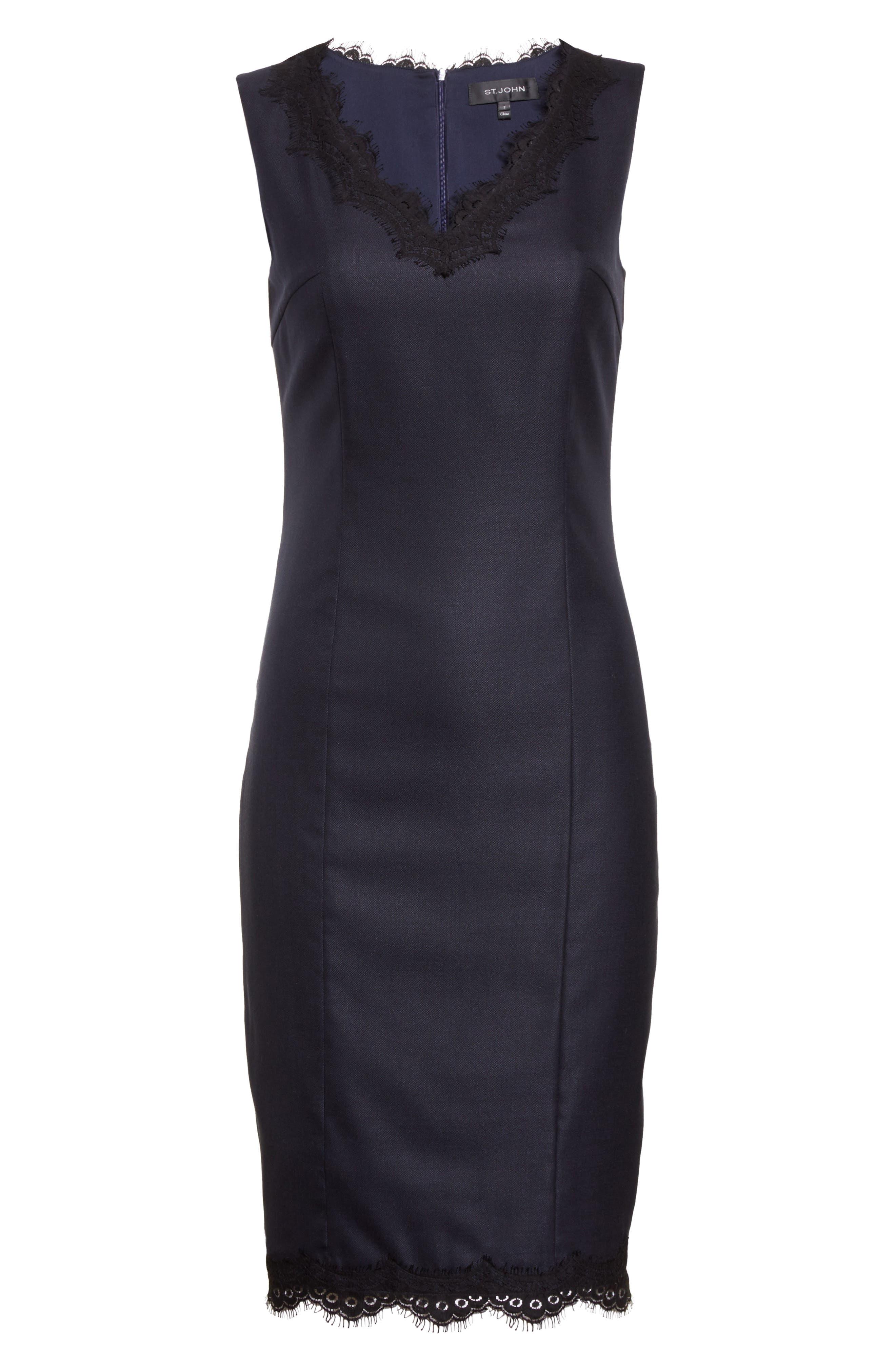 Stretch Birdseye Sheath Dress,                             Alternate thumbnail 7, color,                             Navy/ Caviar