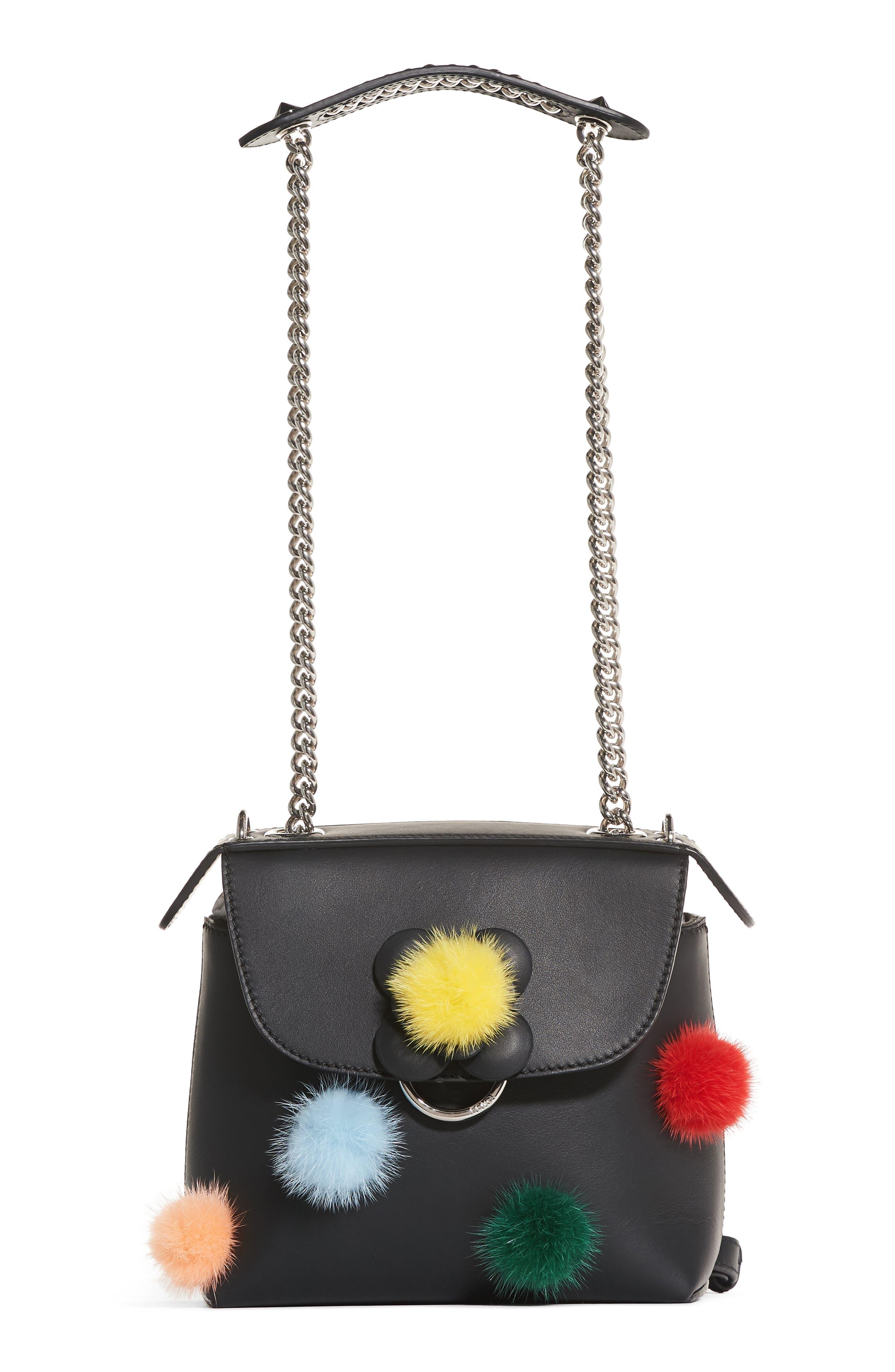 Mini Back to School Genuine Mink Fur Pompom Leather Shoulder Bag,                             Alternate thumbnail 5, color,                             Black Multi