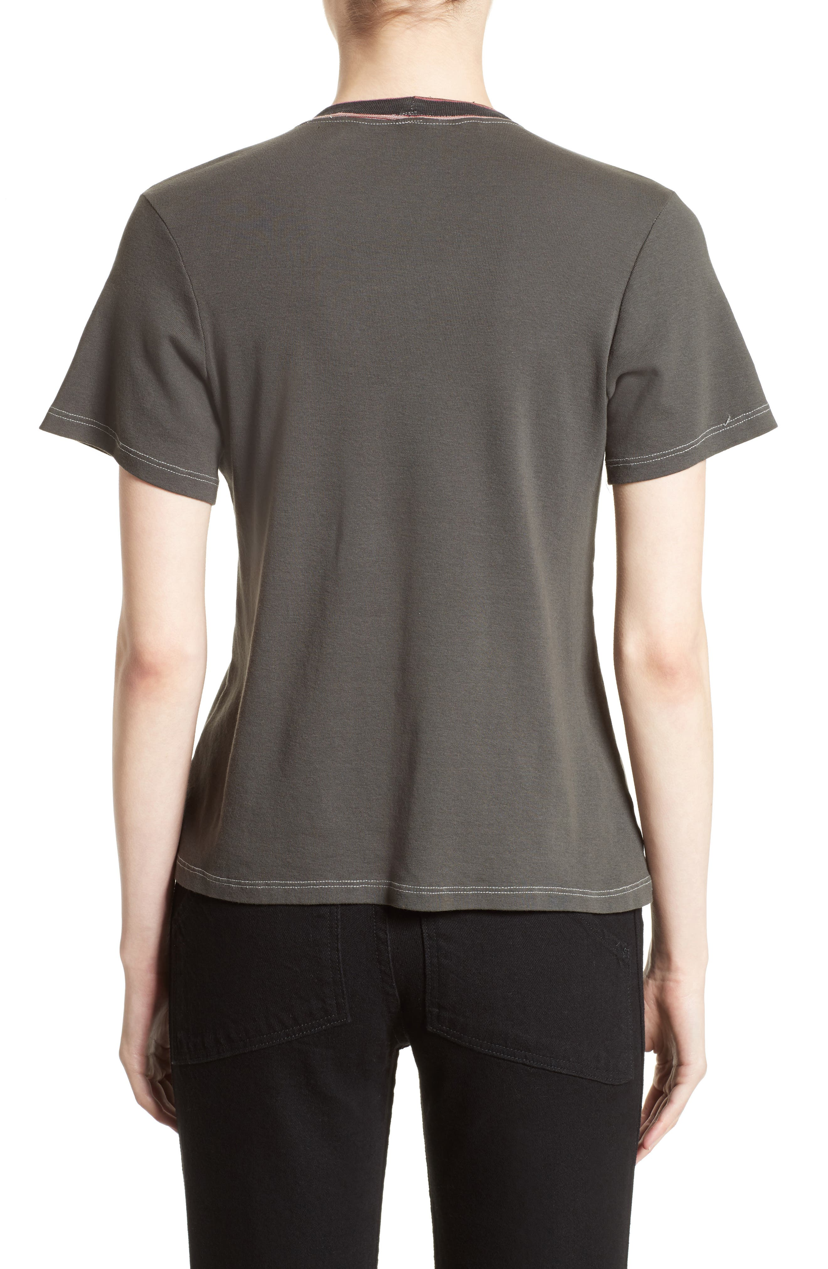 Top Stitch Tee,                             Alternate thumbnail 2, color,                             Off Black