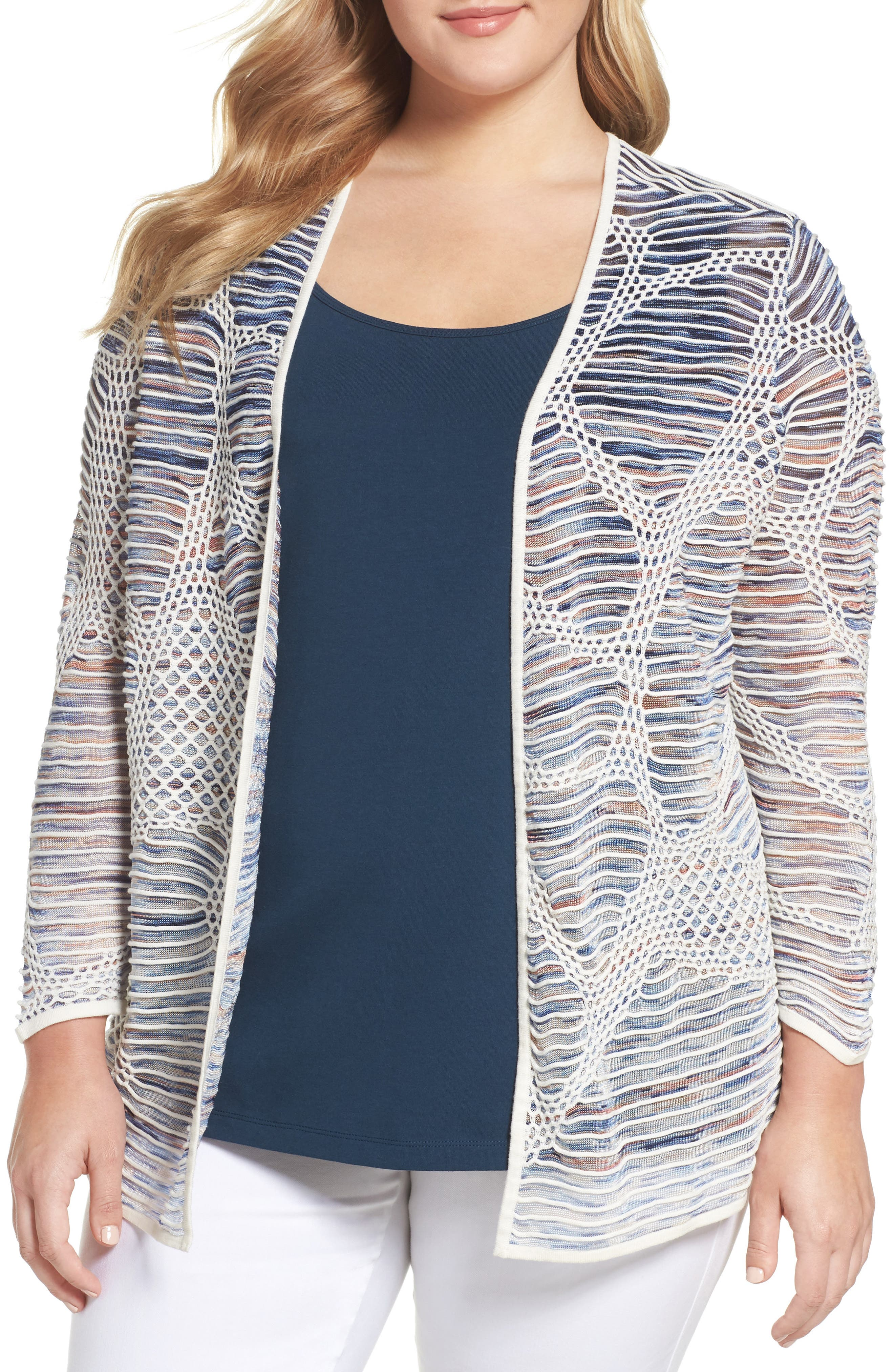 NIC+ZOE Wildflower Open Front Cardigan (Plus Size)