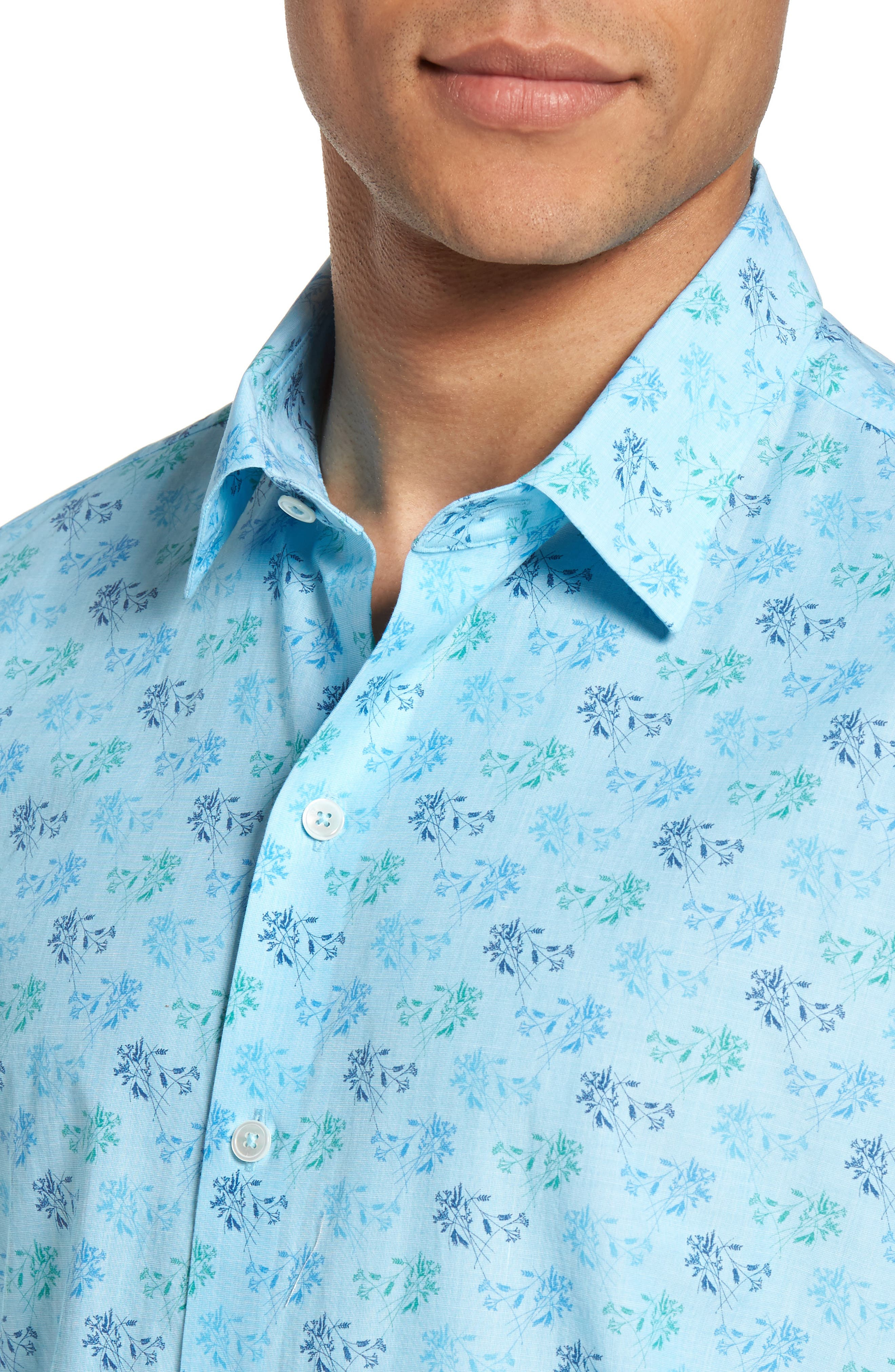 Cobb Print Sport Shirt,                             Alternate thumbnail 4, color,                             Turquoise