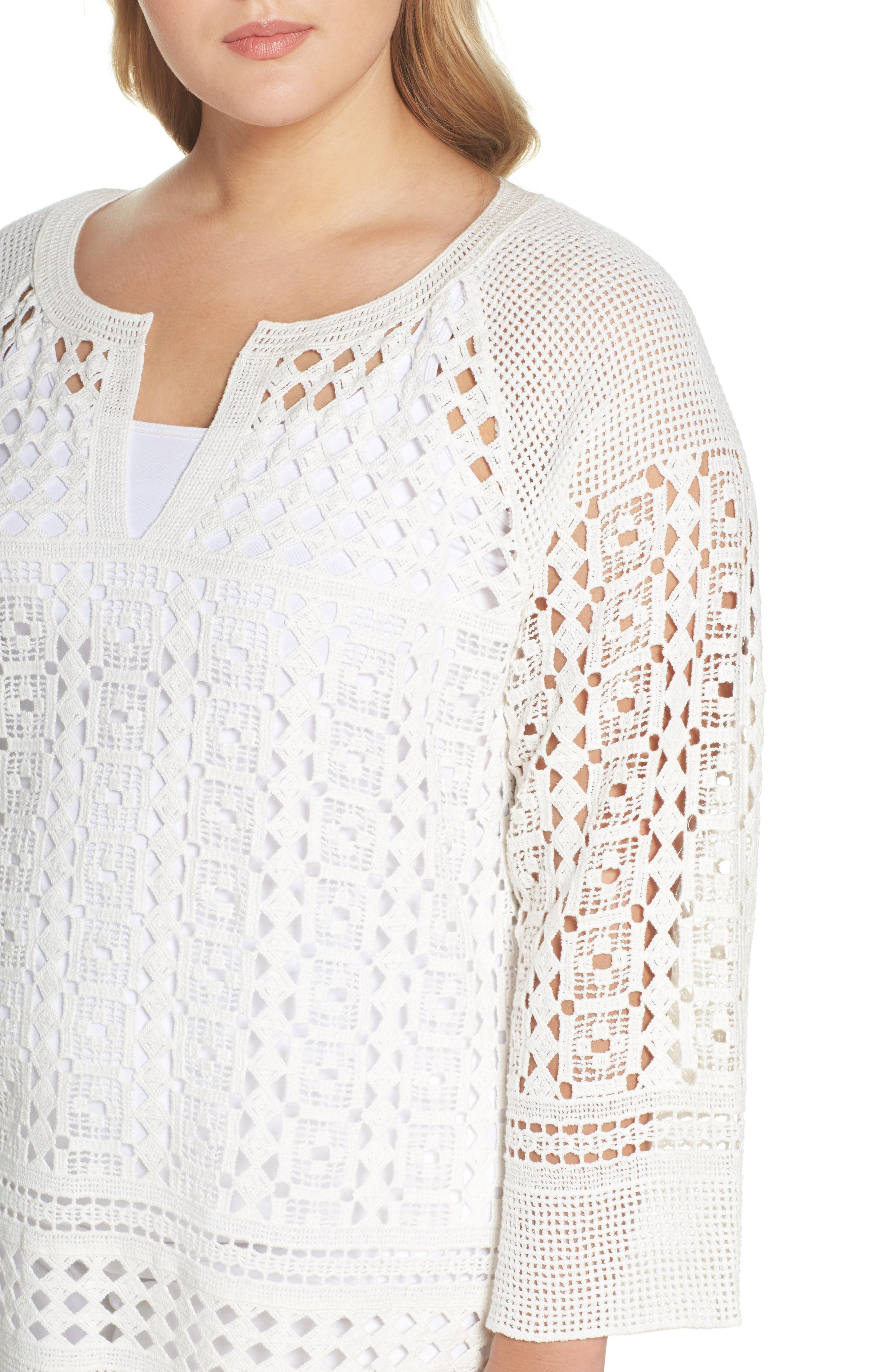 Free Spirit Lace Tunic,                             Alternate thumbnail 4, color,                             Paper Whit