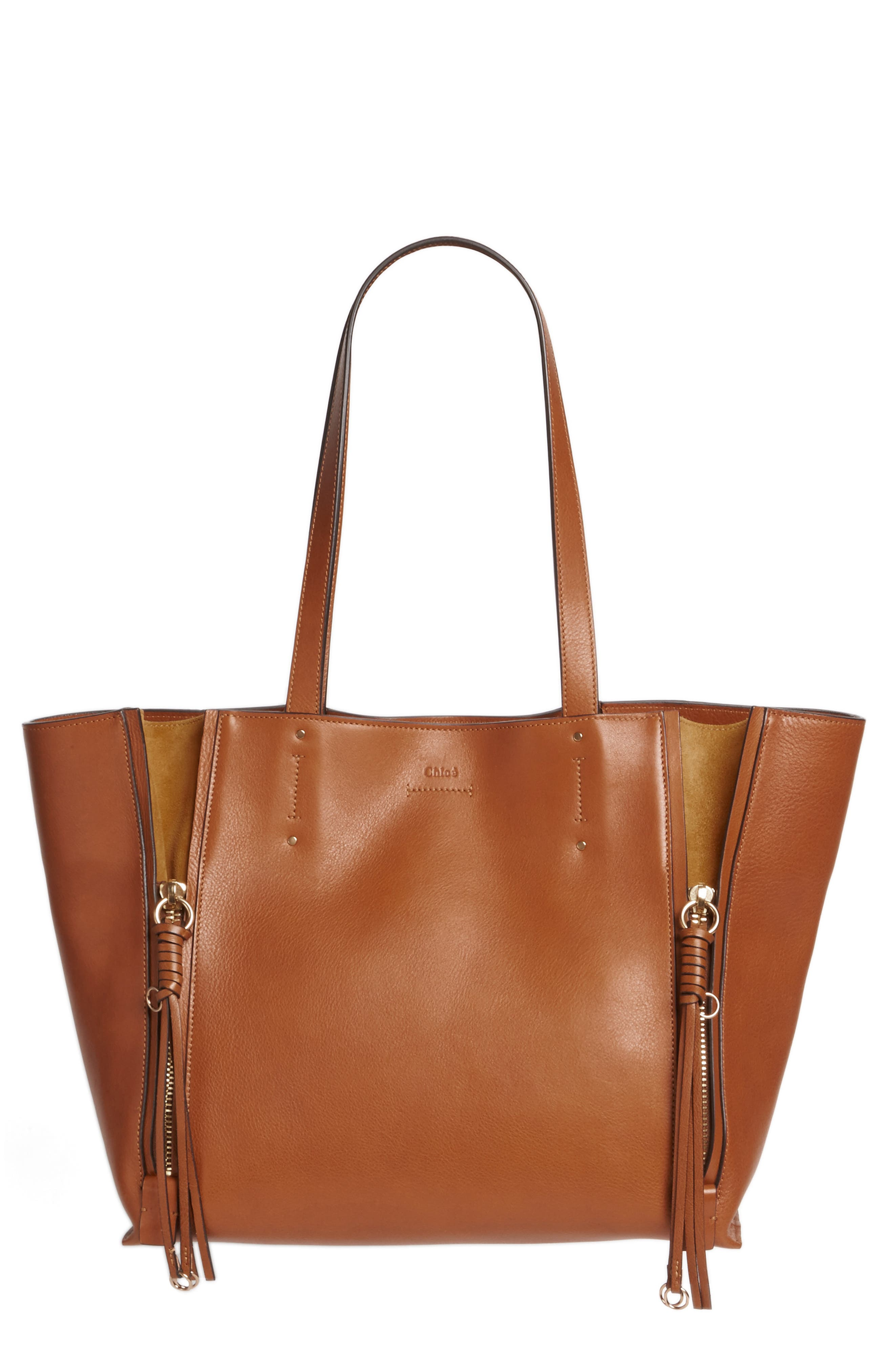 Medium Milo Calfskin Leather Tote,                             Alternate thumbnail 6, color,                             Caramel