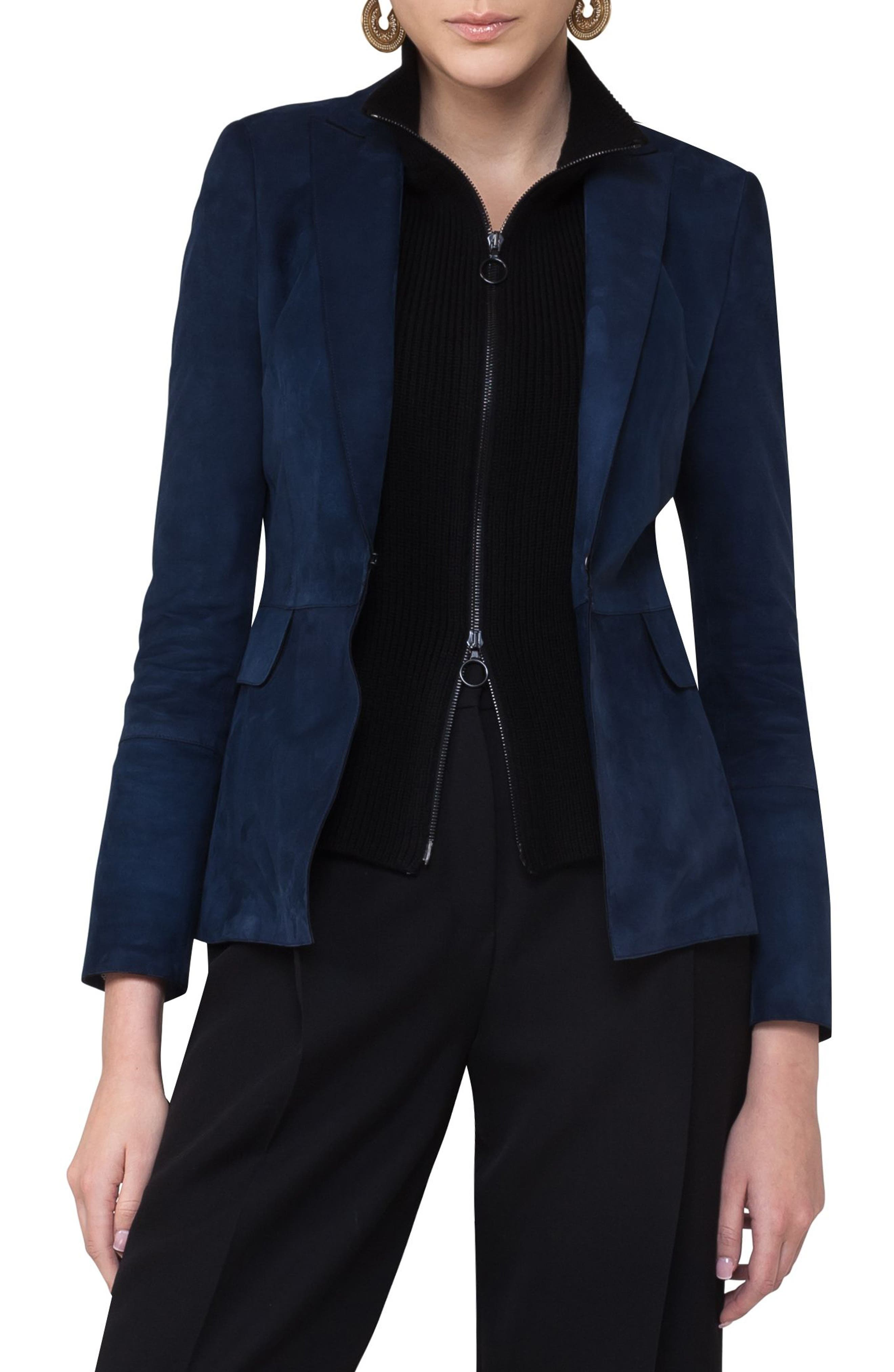 Suede Blazer with Removable Knit Insert,                             Main thumbnail 1, color,                             Solid Blue Denim