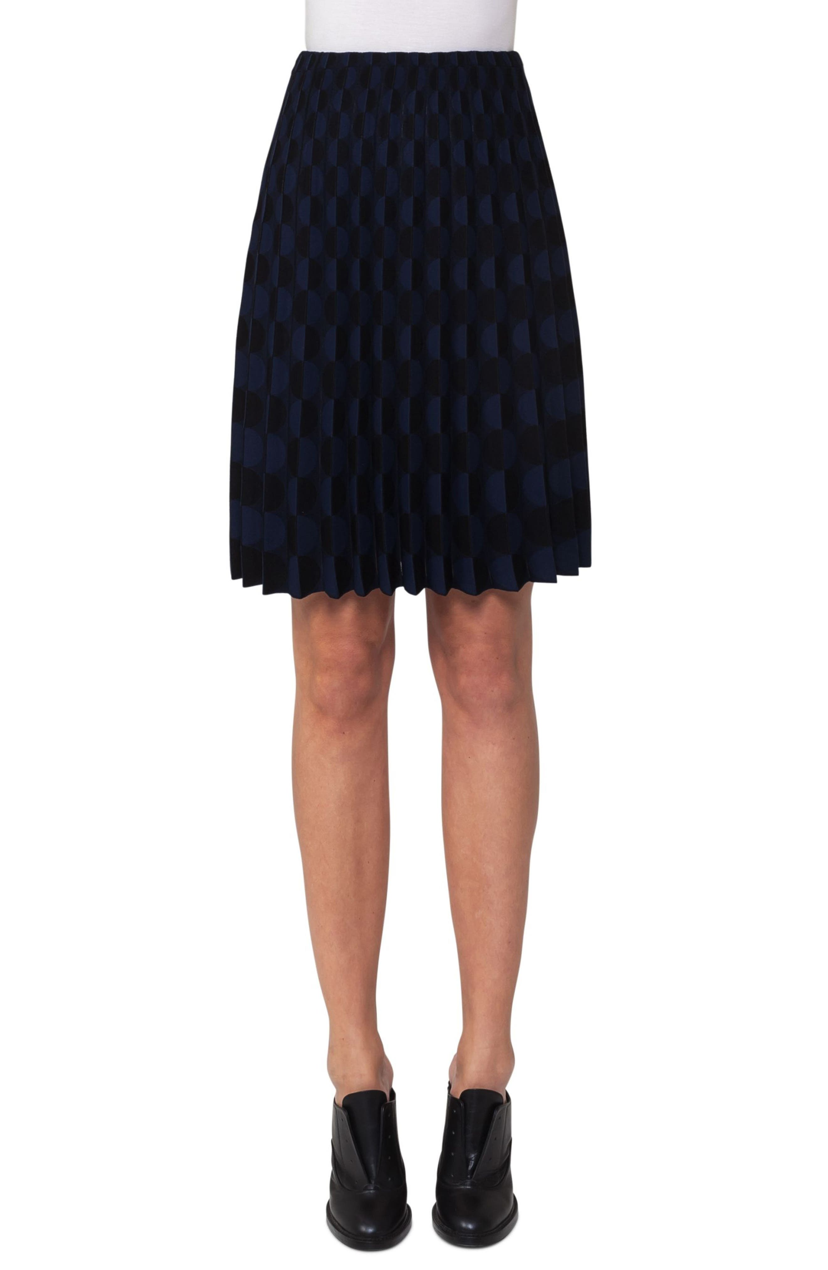 Contrast Dot Knit Pleated Skirt,                         Main,                         color, Black/ Blue