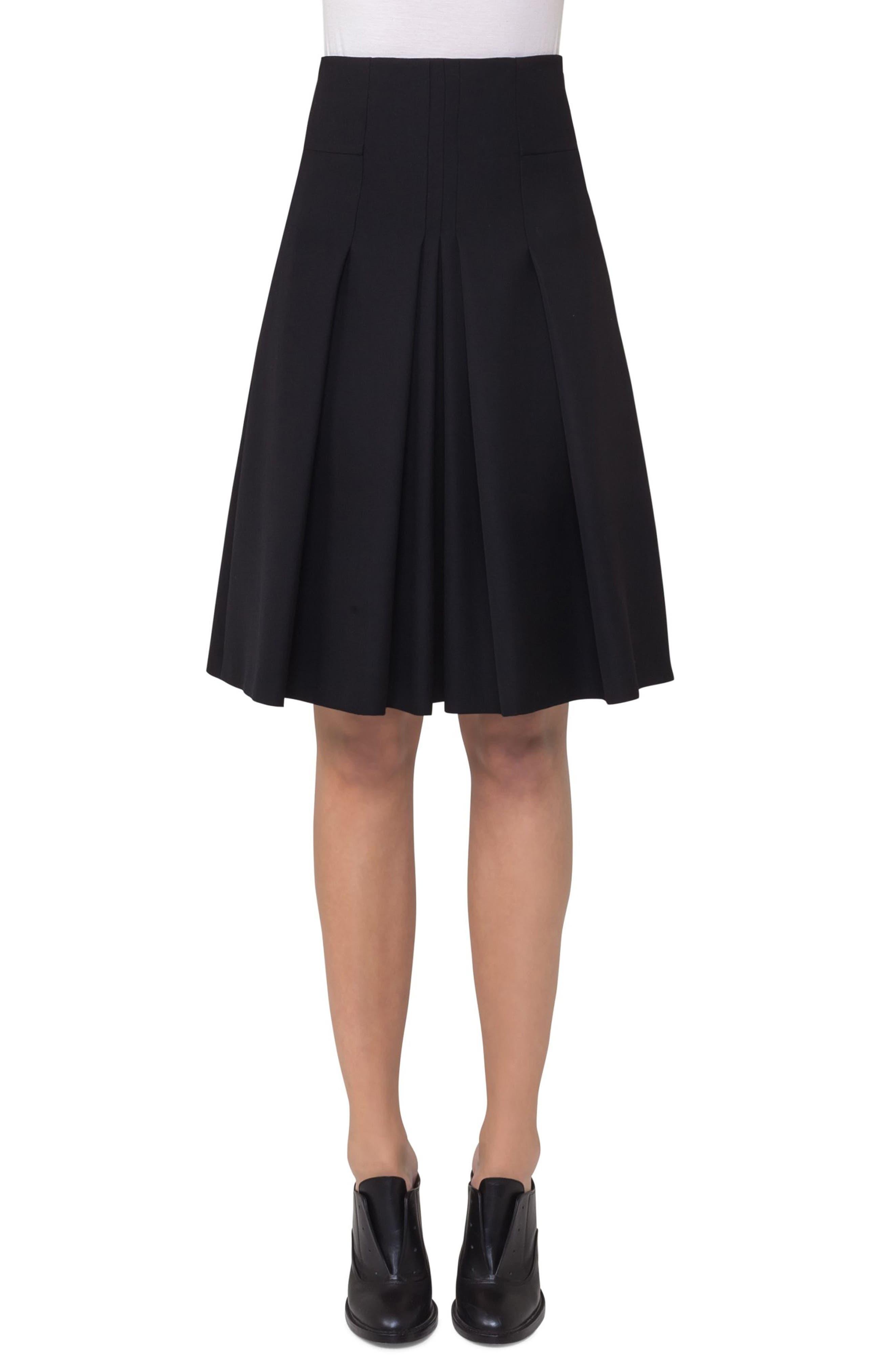 Pleated Wool Skirt,                         Main,                         color, Black