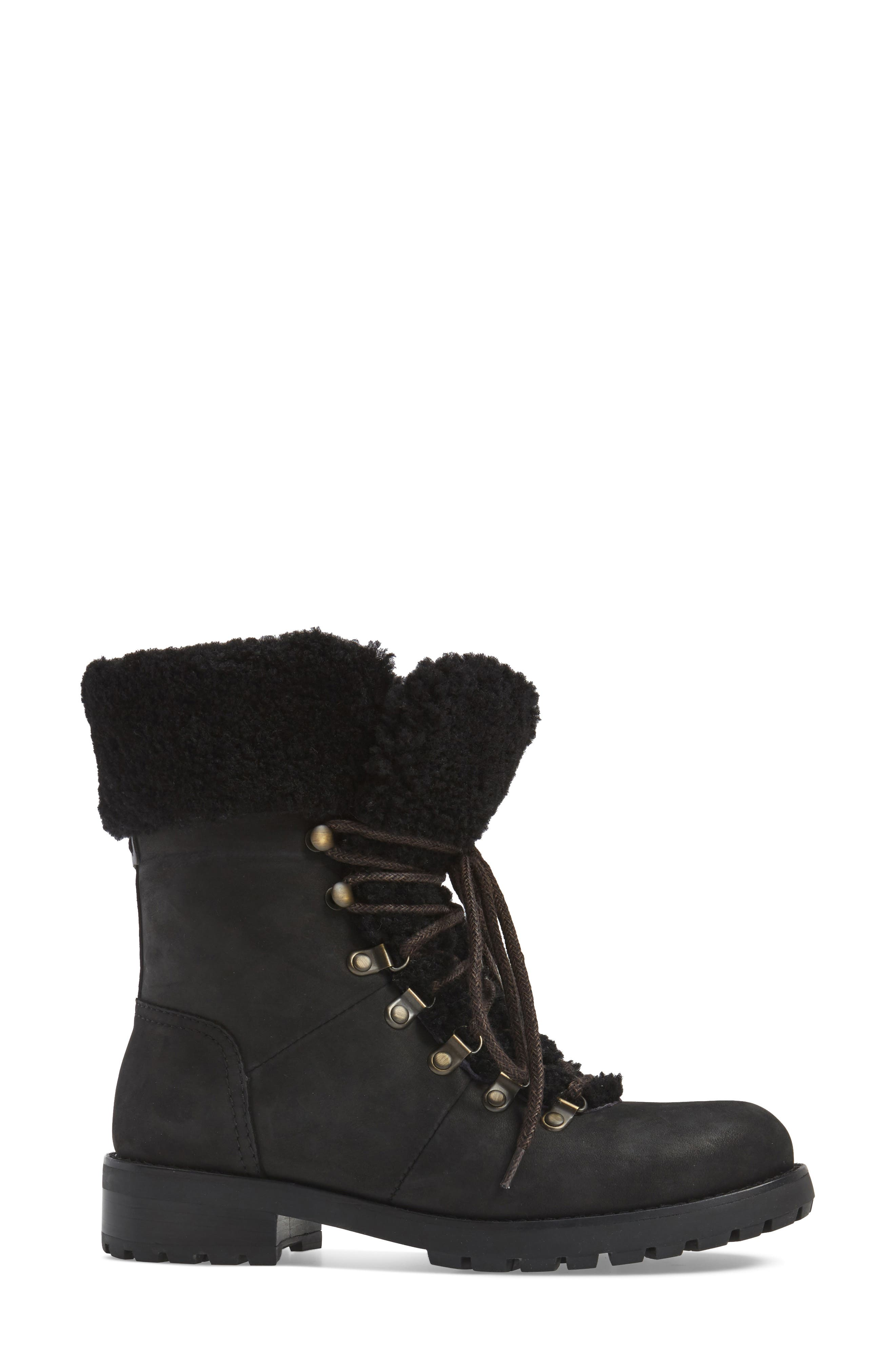 Fraser Genuine Shearling Water Resistant Boot,                             Alternate thumbnail 3, color,                             Black Leather