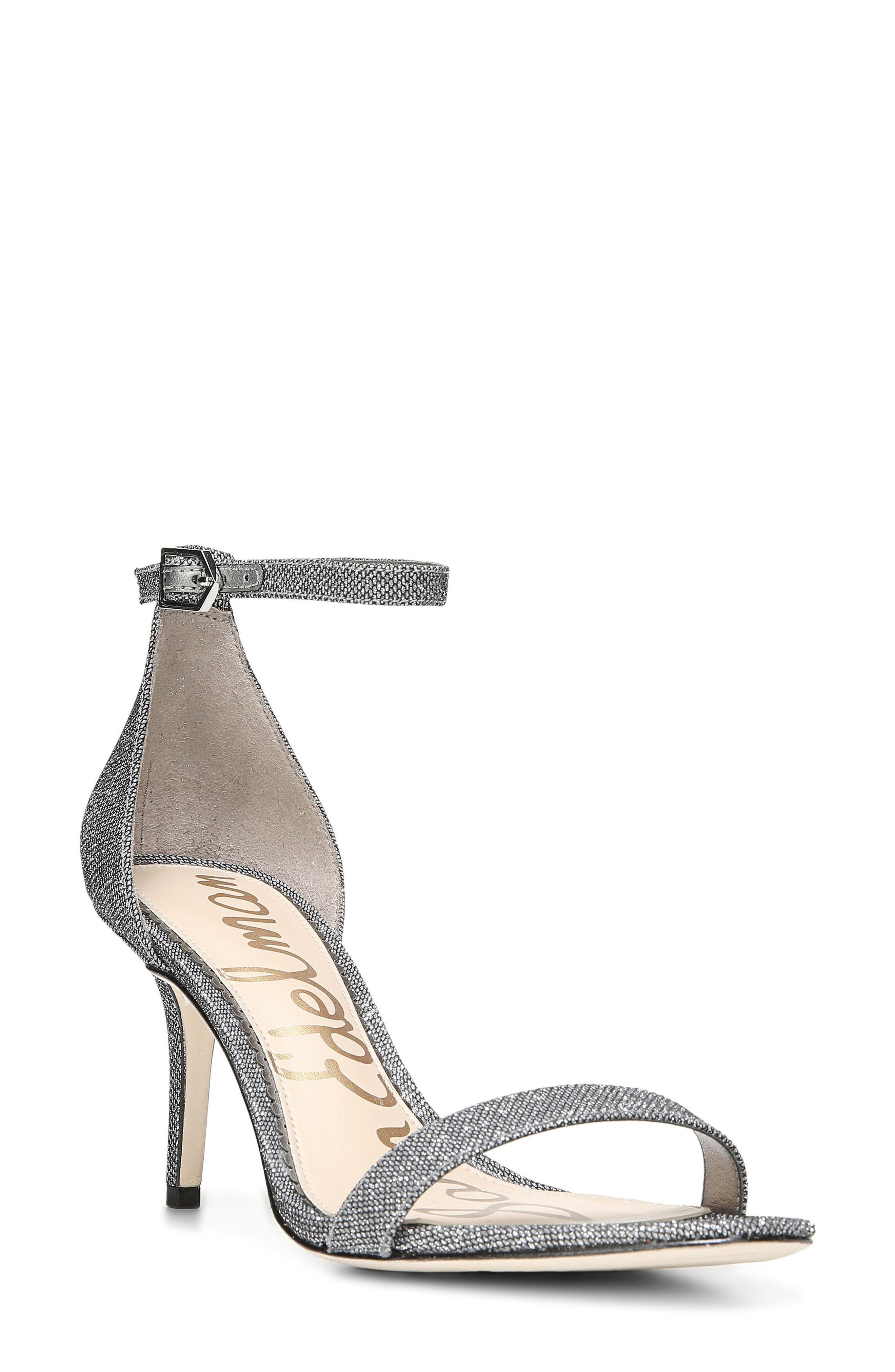 Patti Ankle Strap Sandal,                         Main,                         color, Pewter Fabric