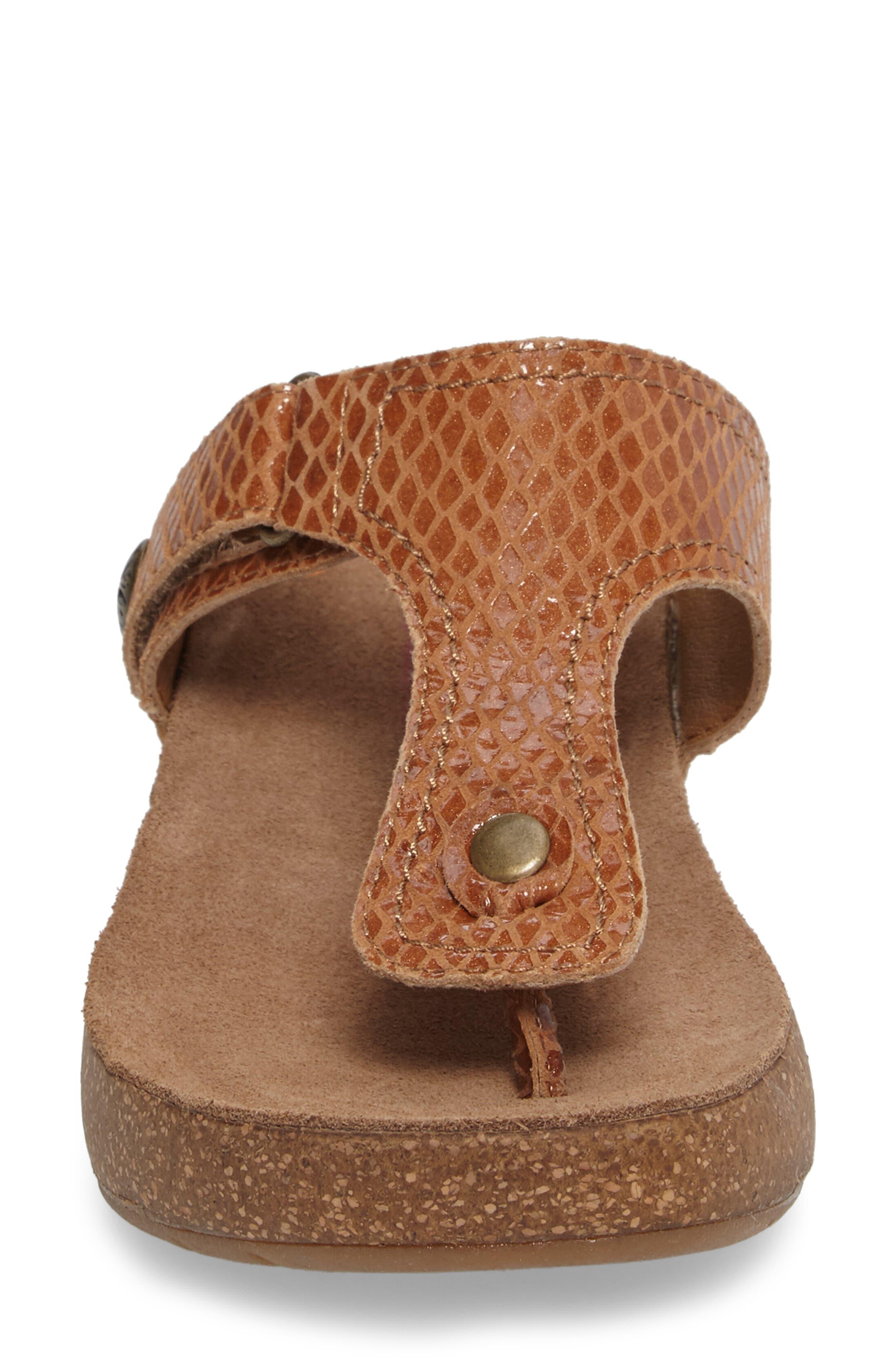 Shantel Flip Flop,                             Alternate thumbnail 4, color,                             Luggage Print Leather