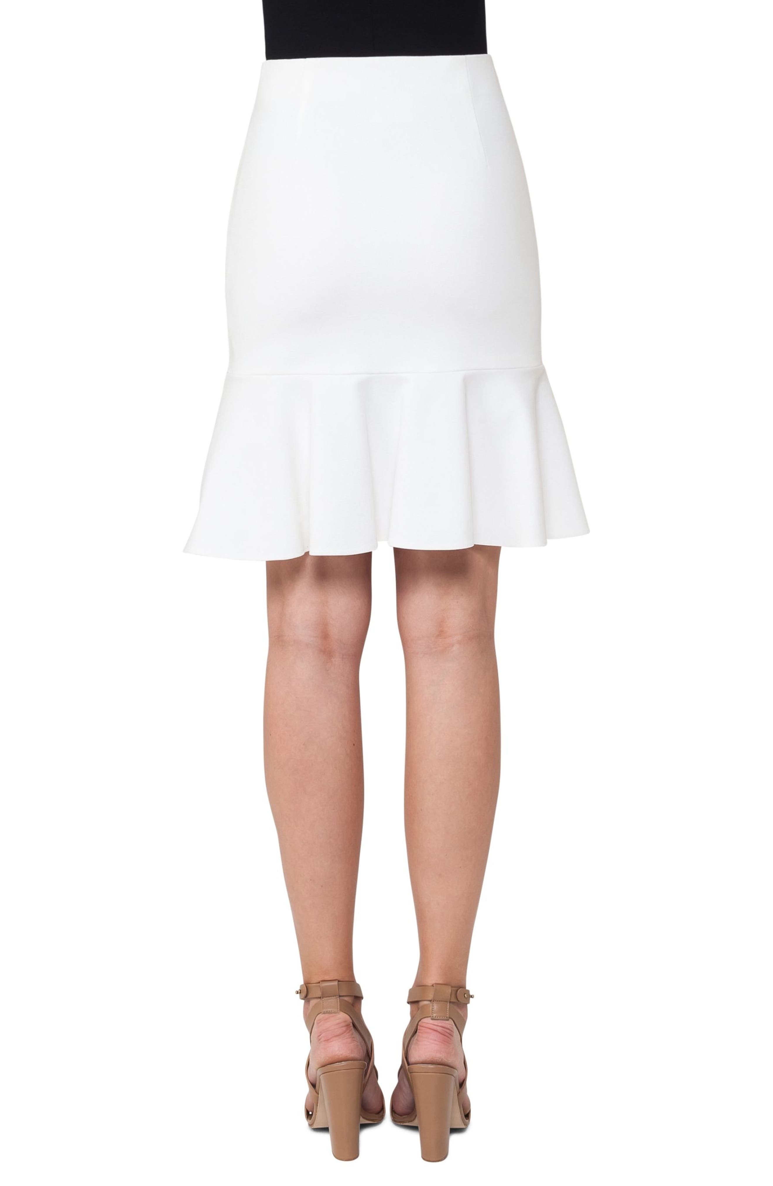 Jersey Flounce Hem Skirt,                             Alternate thumbnail 2, color,                             Cream