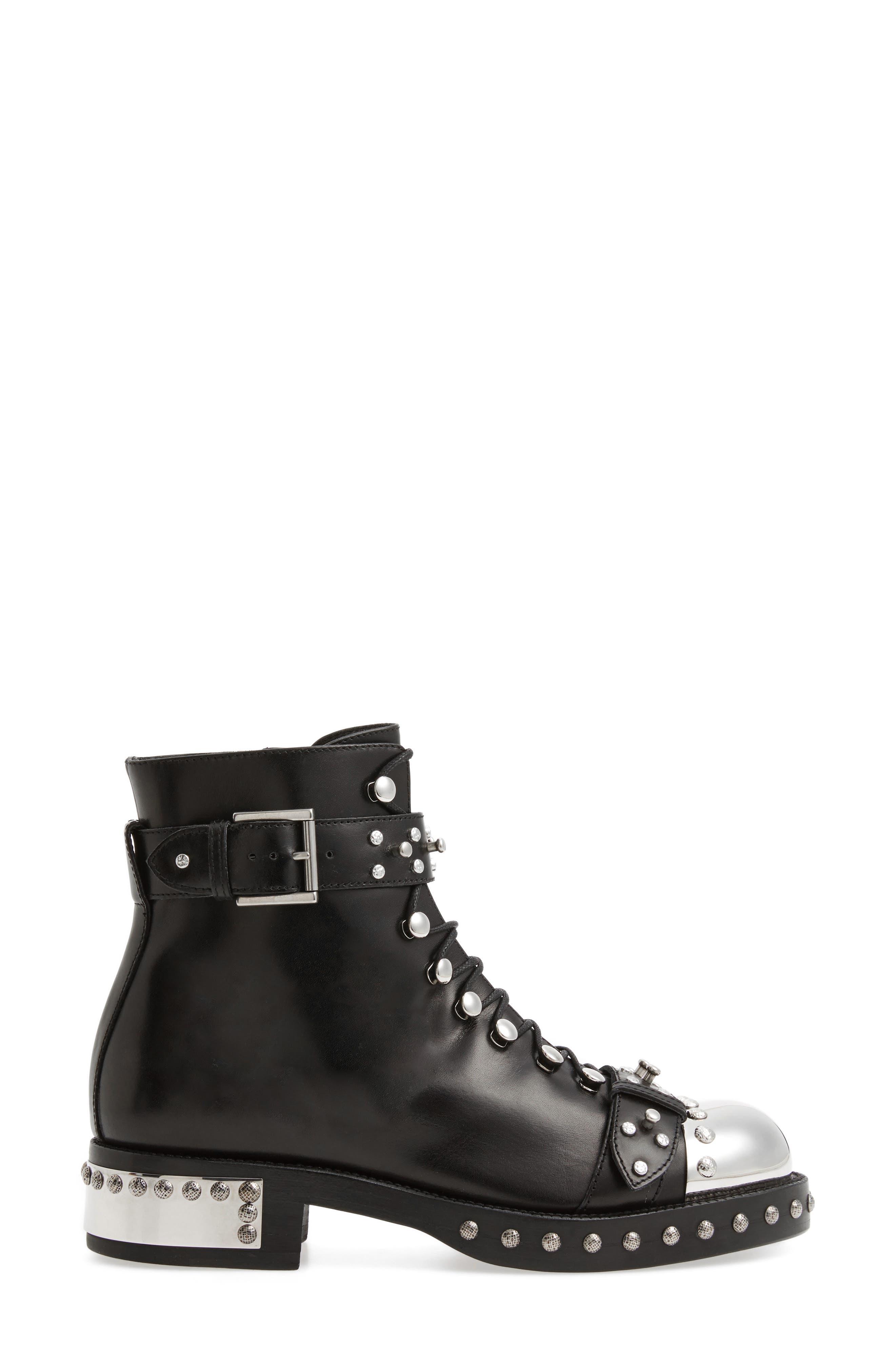 Studded Cap Toe Boot,                             Alternate thumbnail 3, color,                             Black