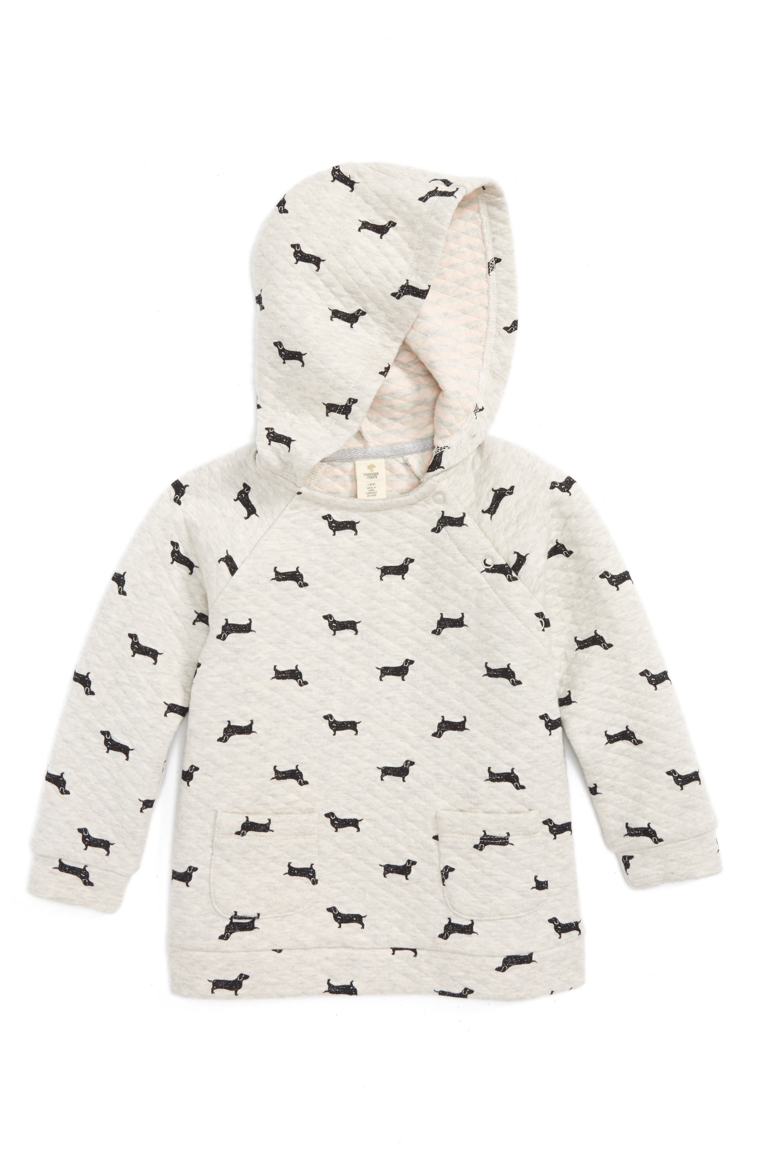 Alternate Image 1 Selected - Tucker + Tate Dog Graphic Quilted Hoodie (Baby Girls)