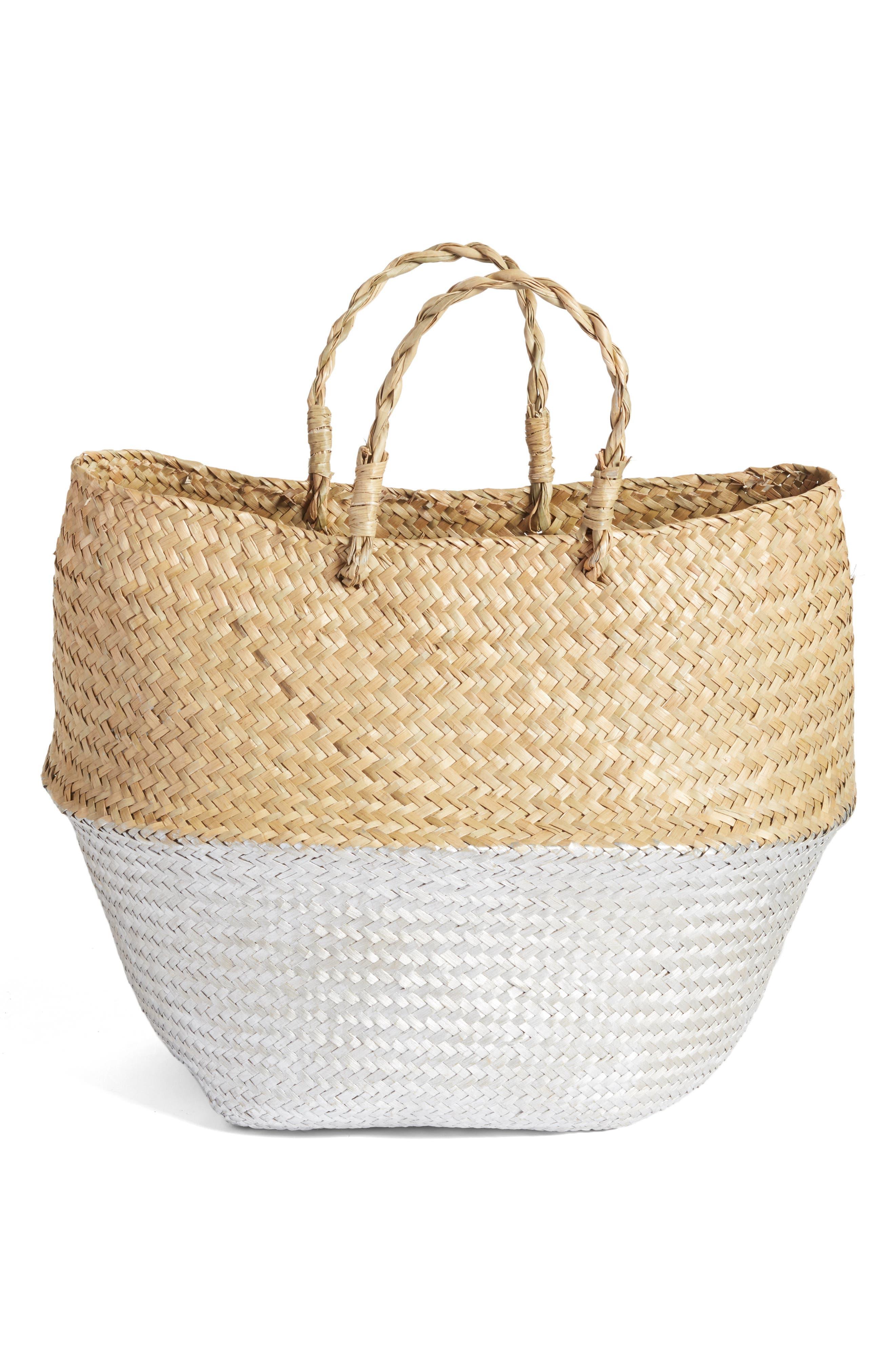 Two-Tone Metallic Straw Basket,                             Main thumbnail 1, color,                             Metallic Silver
