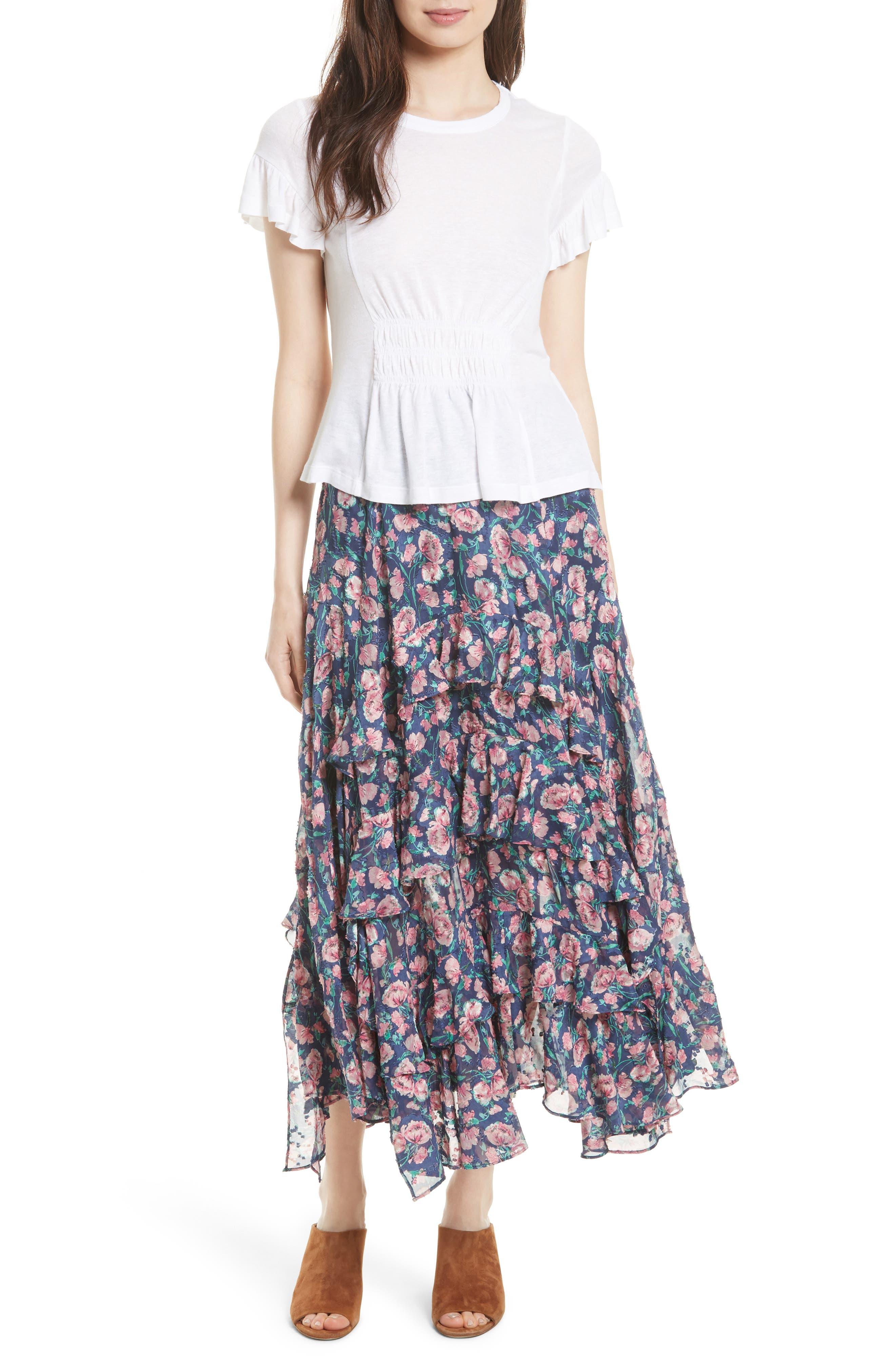 Rebecca Taylor Tea Rose Ruffle Jacquard Skirt