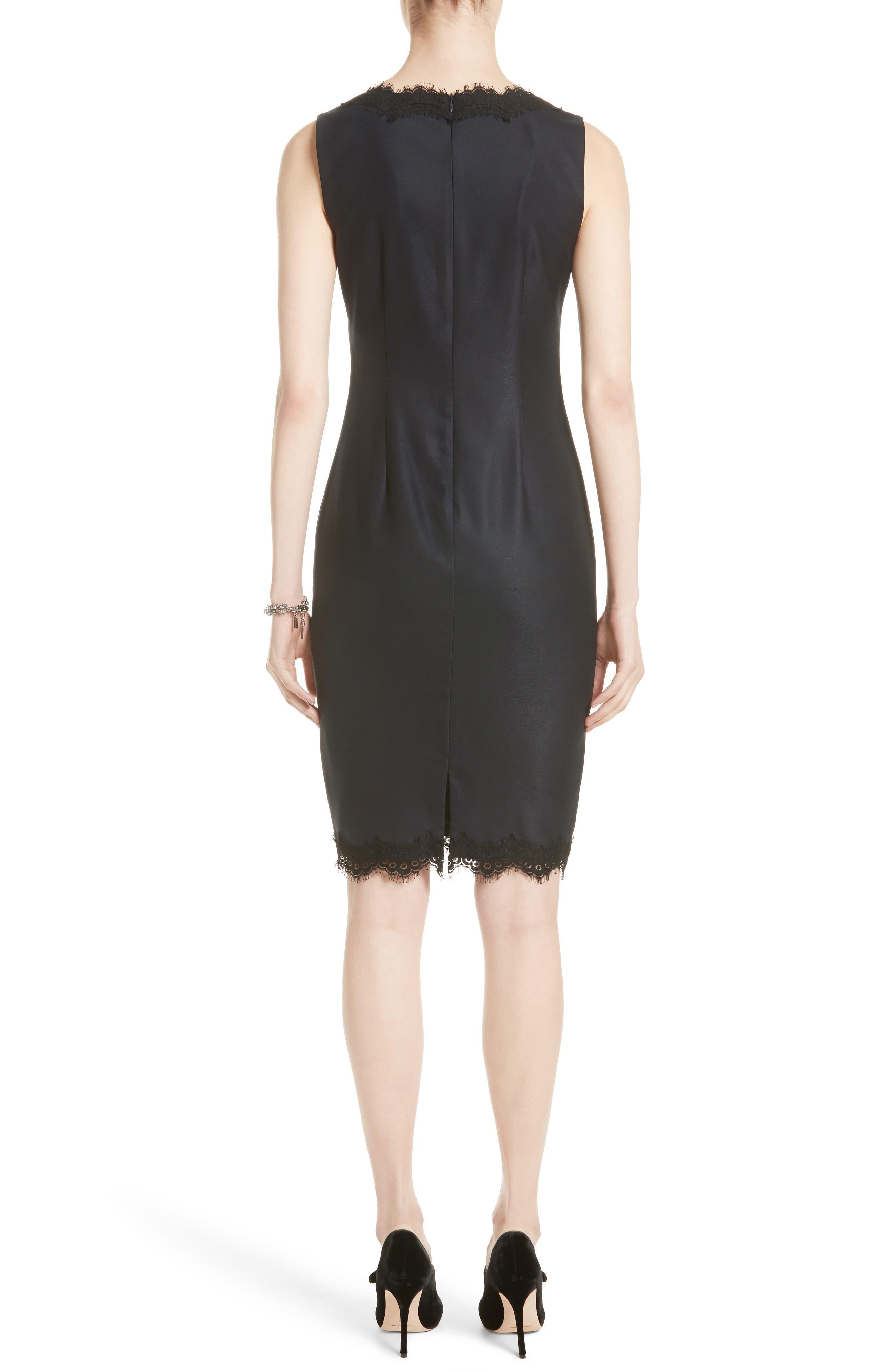 Stretch Birdseye Sheath Dress,                             Alternate thumbnail 2, color,                             Navy/ Caviar