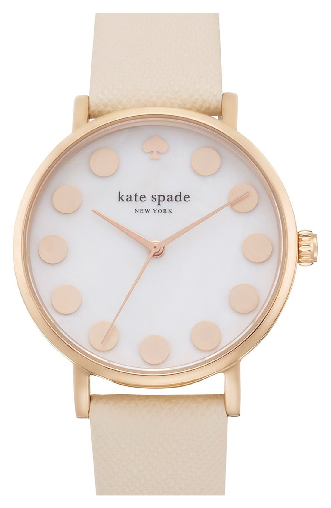 'metro' boxed dot dial watch & straps set, 34mm,                         Main,                         color, Nude/ Rose Gold
