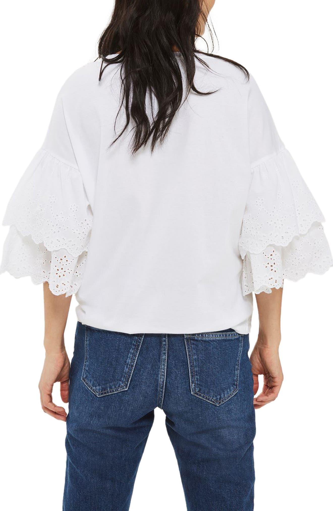 Eyelet Layer Sleeve Tee T-Shirt,                             Alternate thumbnail 3, color,                             White