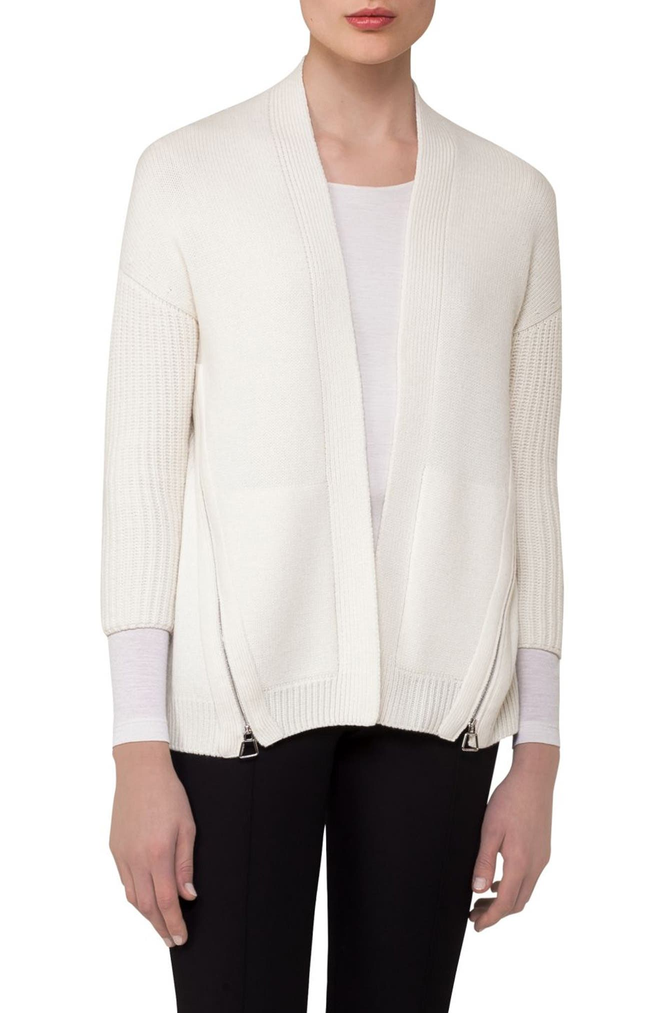 Alternate Image 1 Selected - Akris Zip Detail Drape Cashmere Cardigan