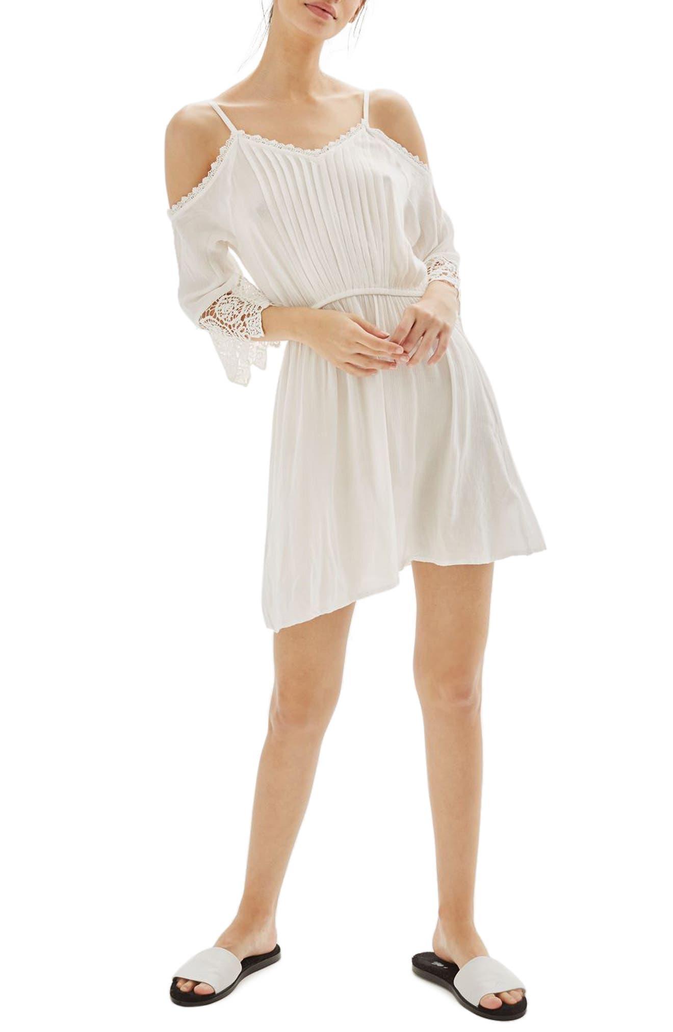 Main Image - Topshop Lace Trim Cold Shoulder Dress