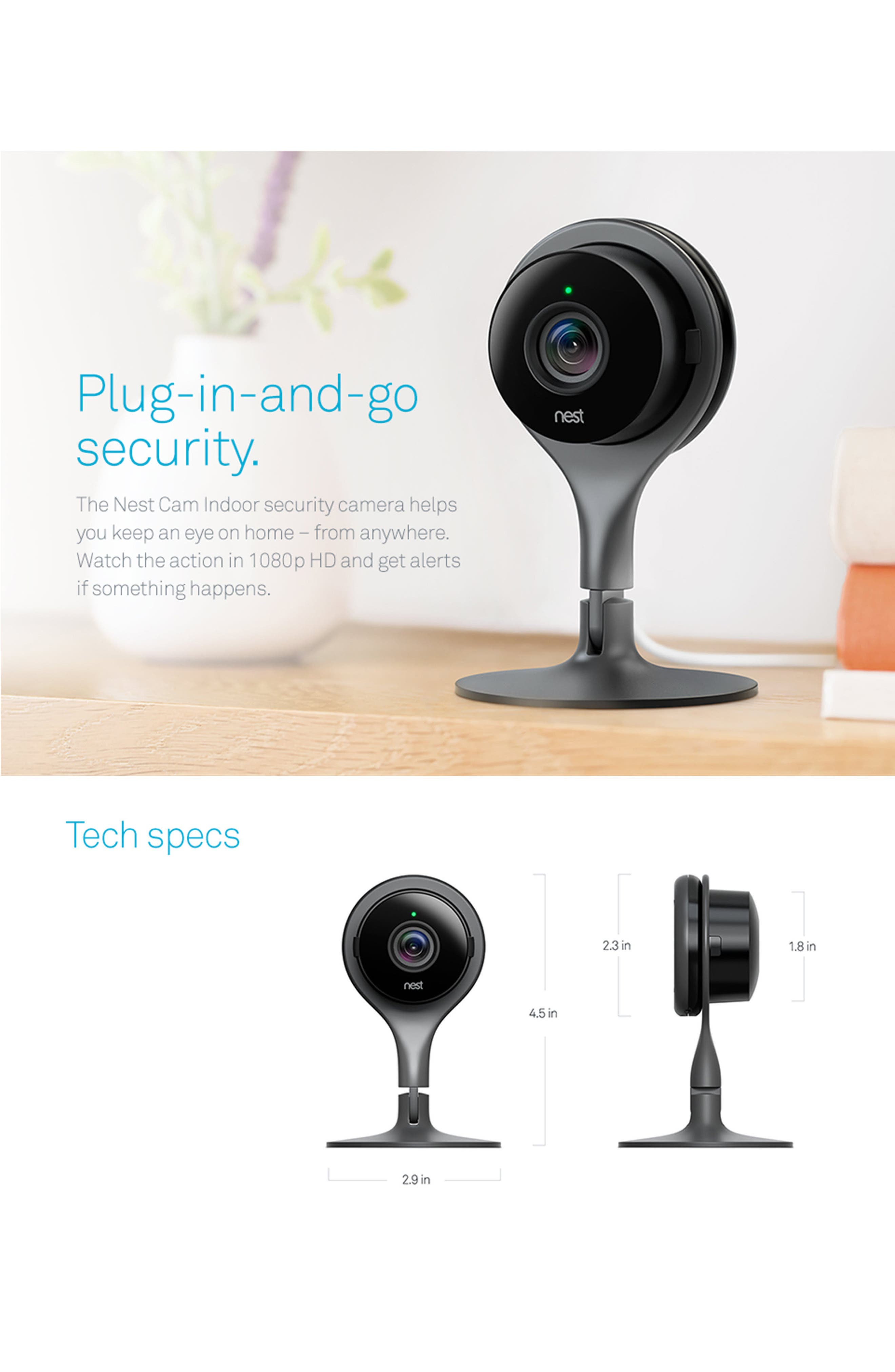 Cam Indoor Security Camera,                             Alternate thumbnail 4, color,                             Black