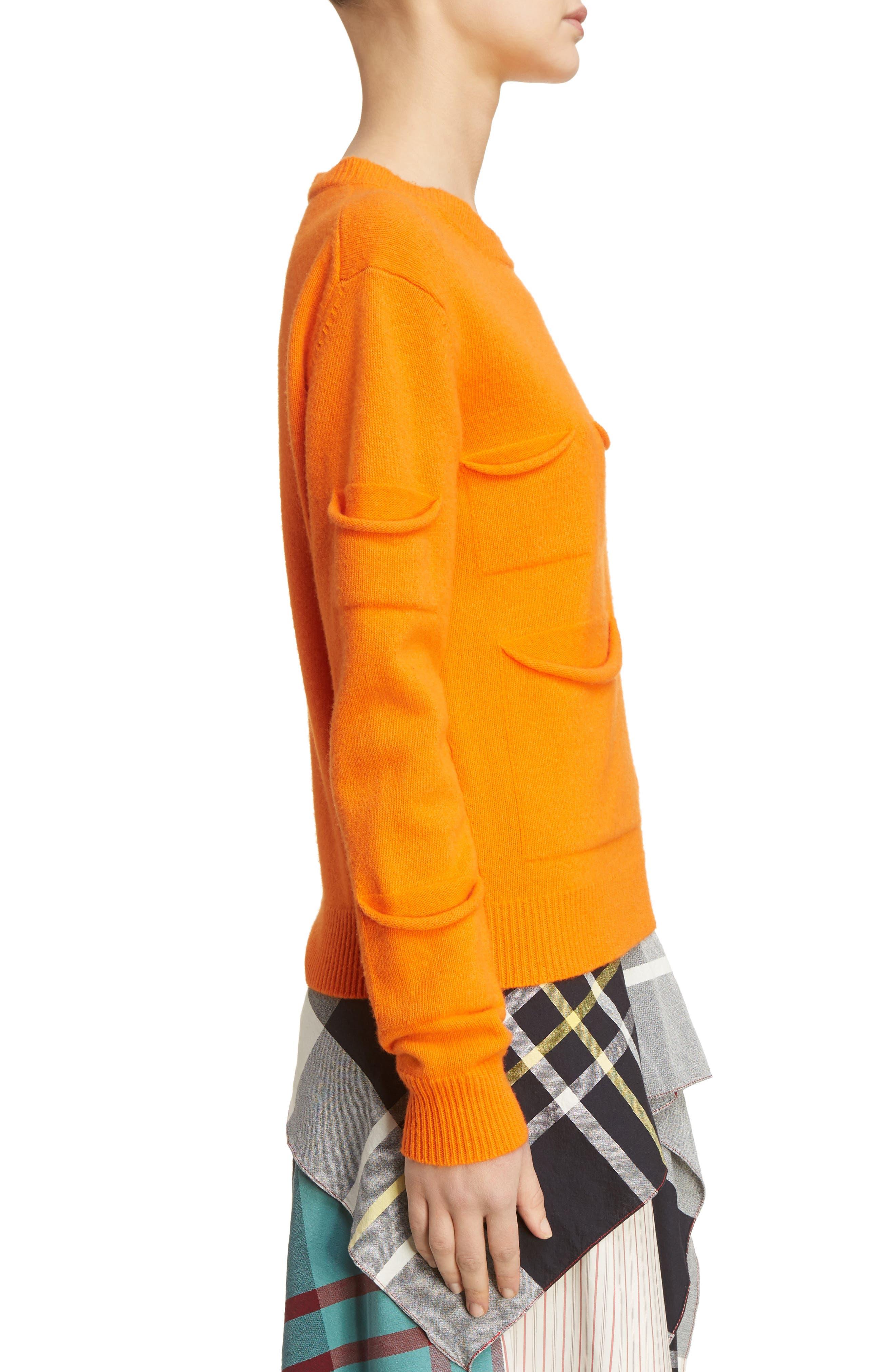 J.W.ANDERSON Multi Pocket Crewneck Sweater,                             Alternate thumbnail 4, color,                             Tangerine