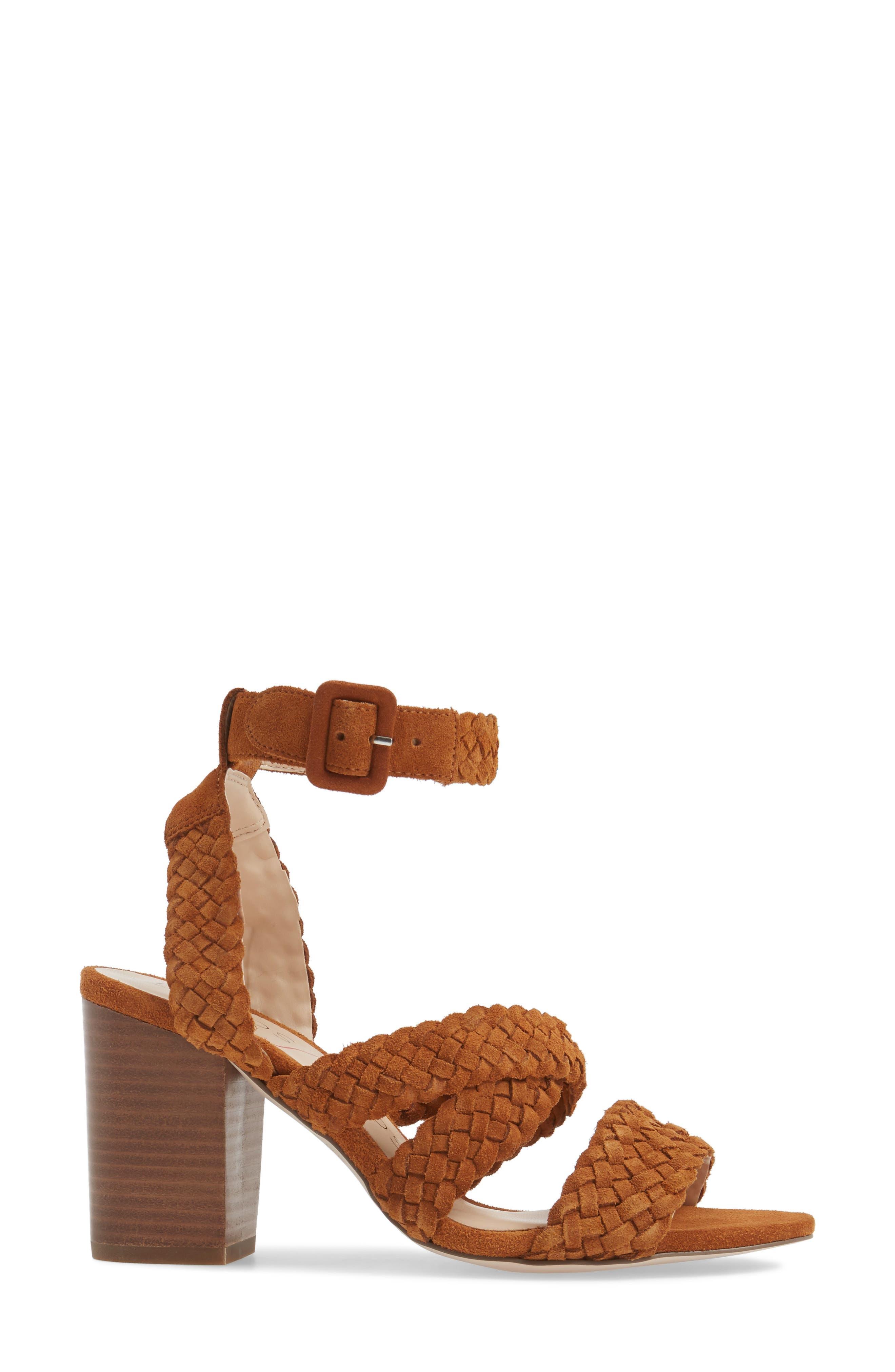 Evelina Block Heel Sandal,                             Alternate thumbnail 3, color,                             Chestnut