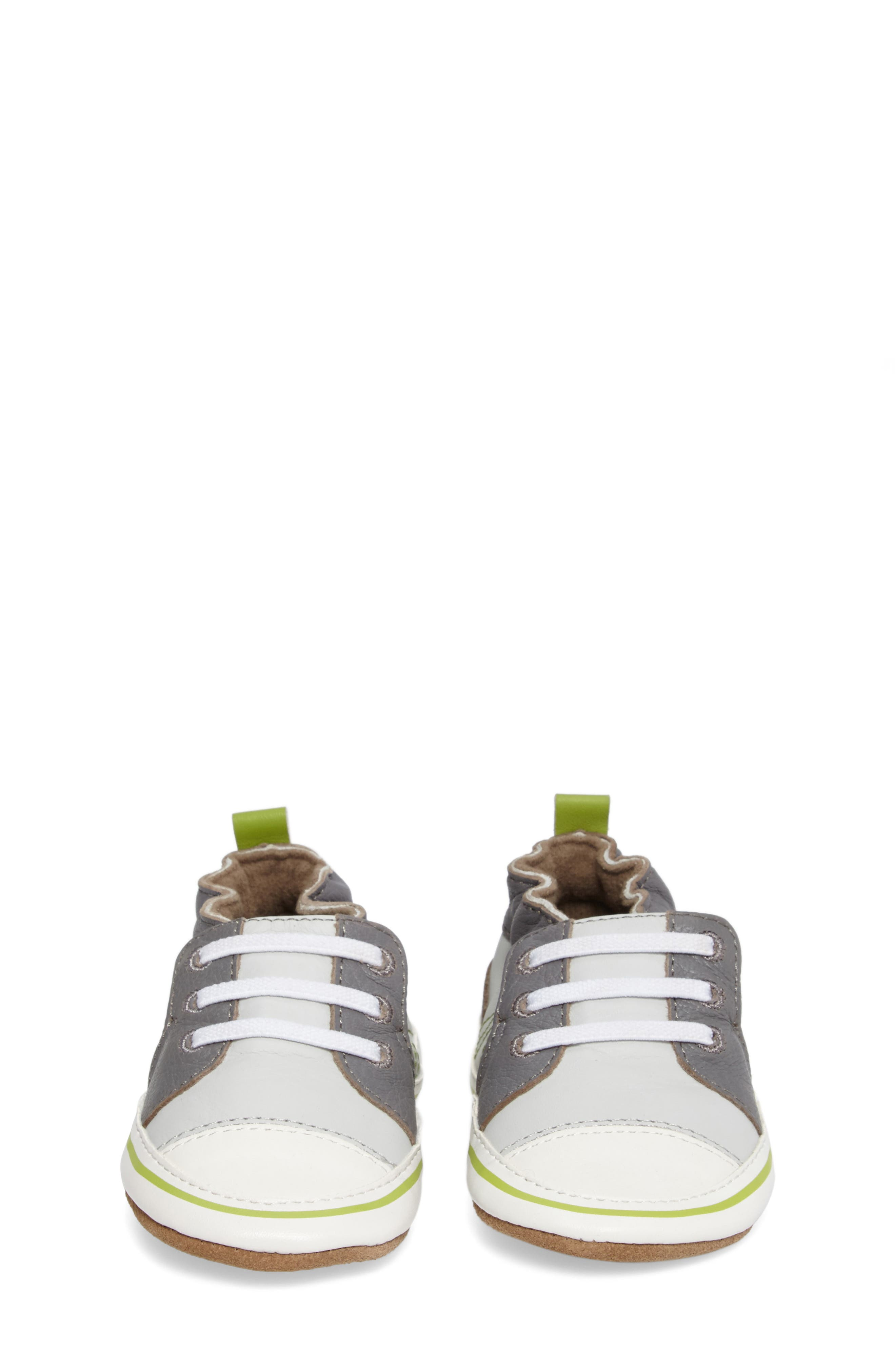 Trendy Trainer Sneaker Crib Shoe,                             Alternate thumbnail 4, color,                             Grey Leather