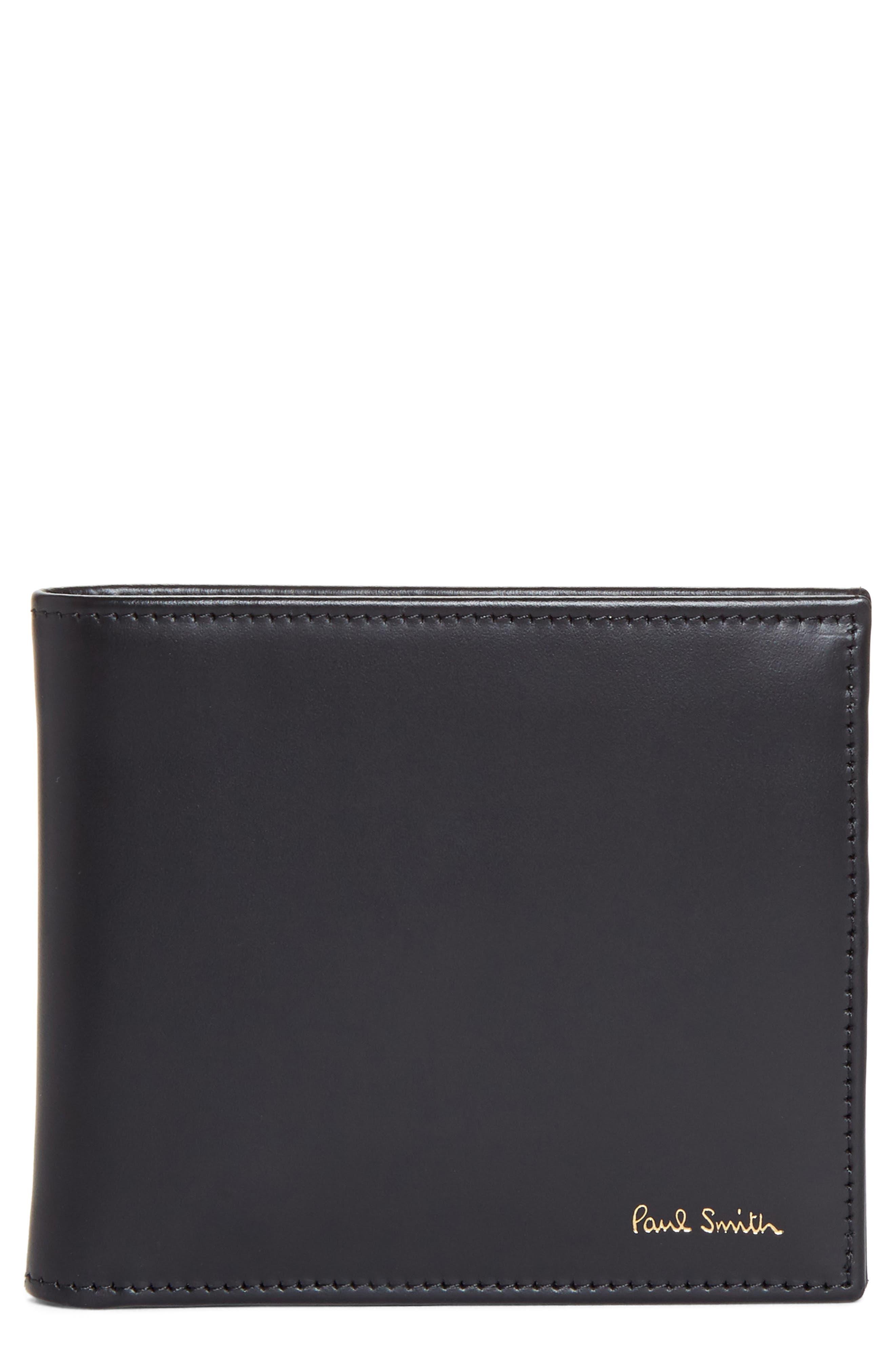 Multistripe Leather Wallet,                         Main,                         color, Black