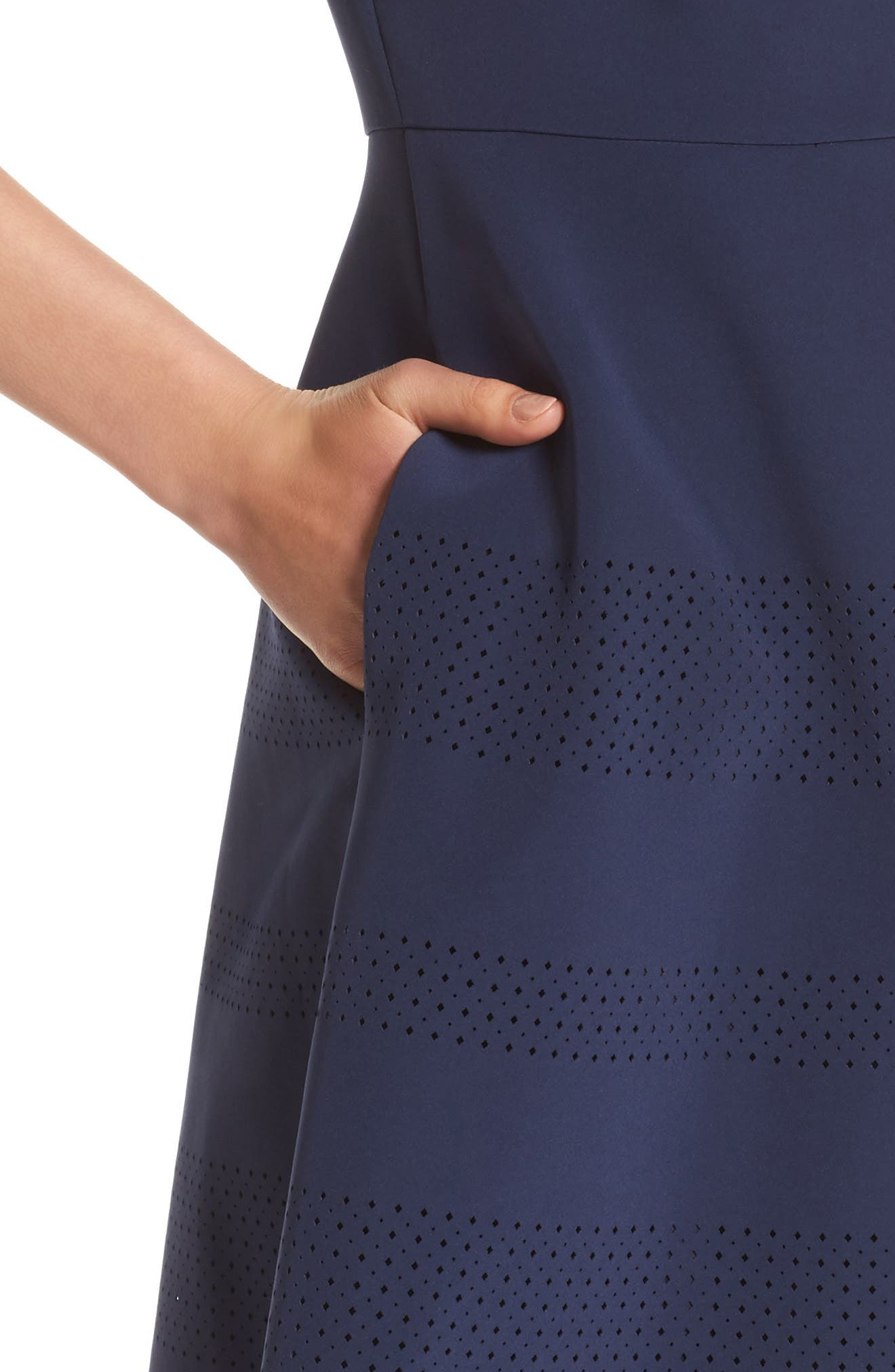 Tamera Perforated Fit & Flare Dress,                             Alternate thumbnail 6, color,                             Delft