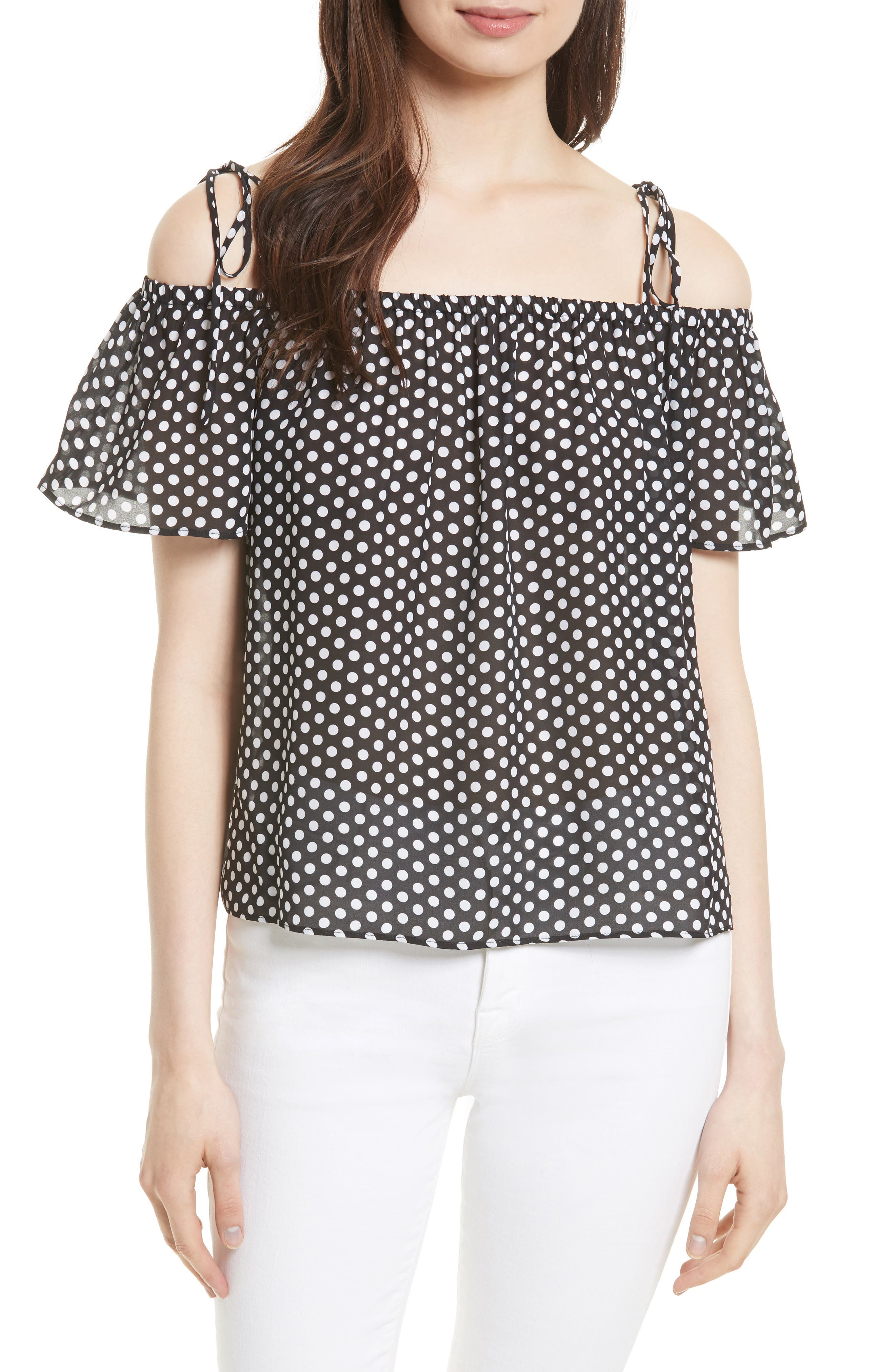 Eden Dot Print Silk Tie Shoulder Top,                         Main,                         color, Black