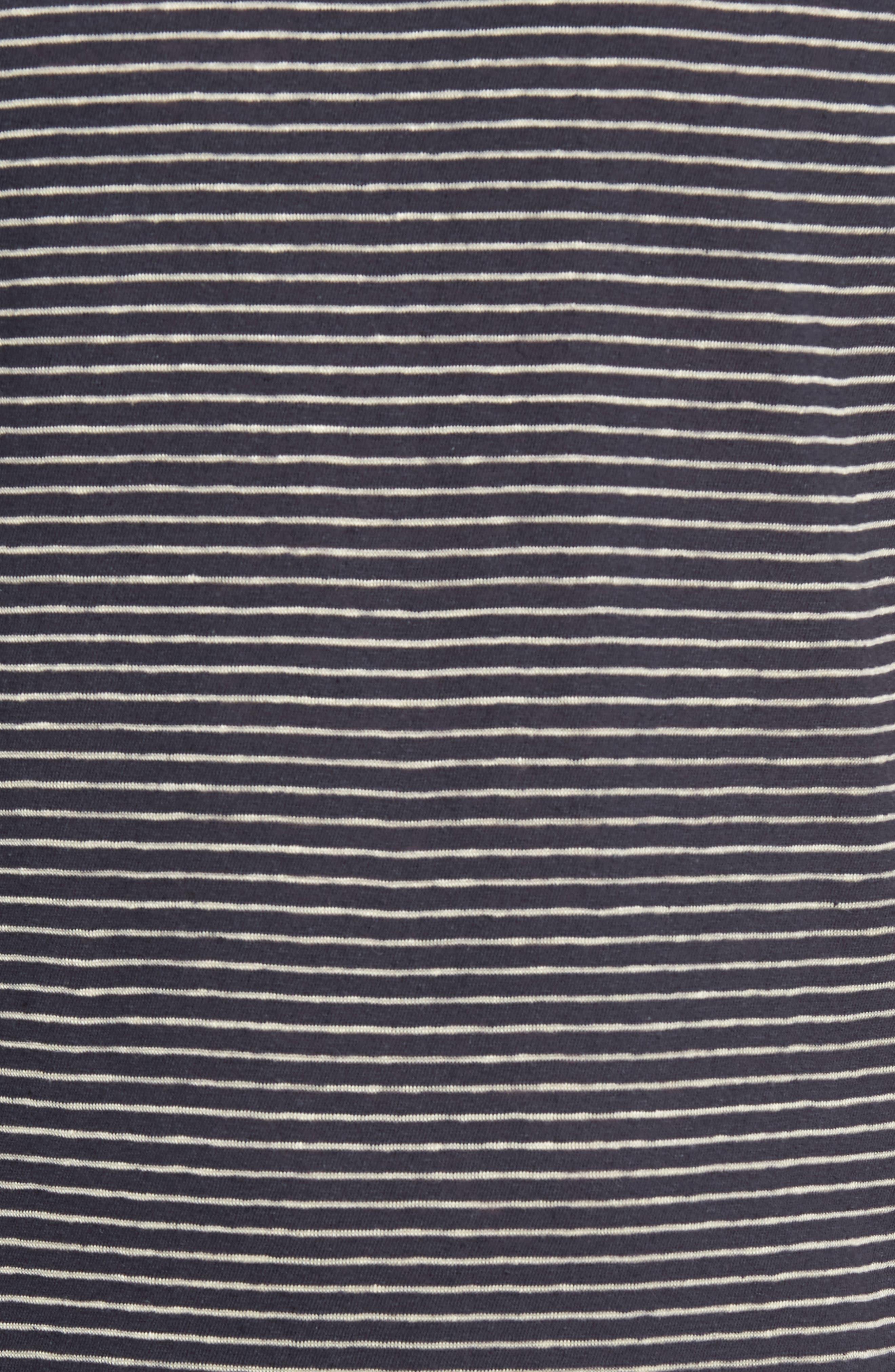 John Rich Stripe Cotton & Linen T-Shirt,                             Alternate thumbnail 5, color,                             Dark Navy Stripe B