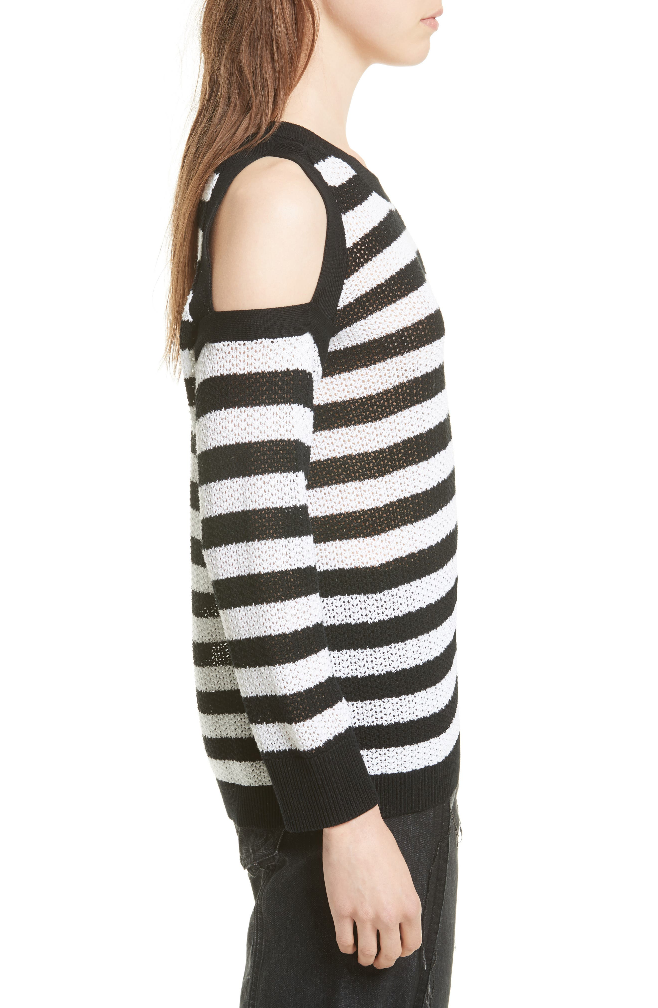 Tracey Cold Shoulder Cotton Sweater,                             Alternate thumbnail 3, color,                             Black/ White