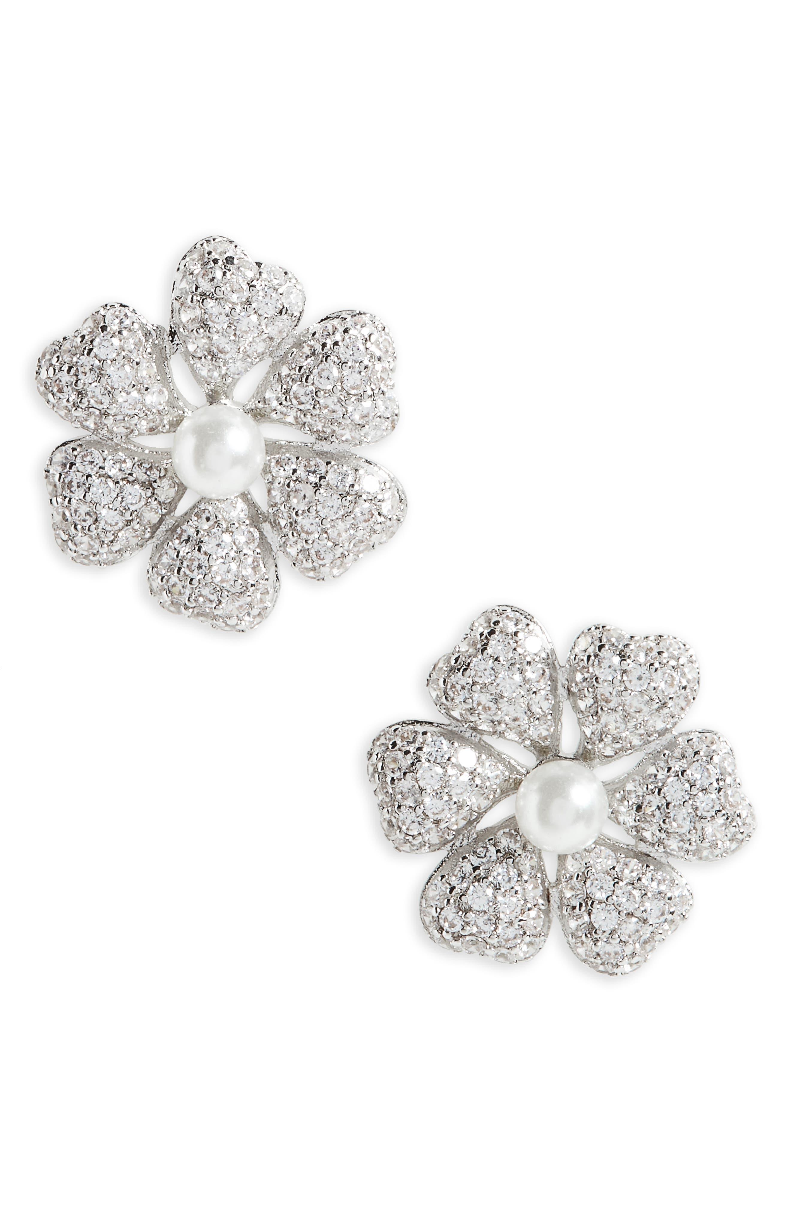 Flower Crystal & Imitation Pearl Stud Earrings,                             Main thumbnail 1, color,                             Ivory Pearl / Silver