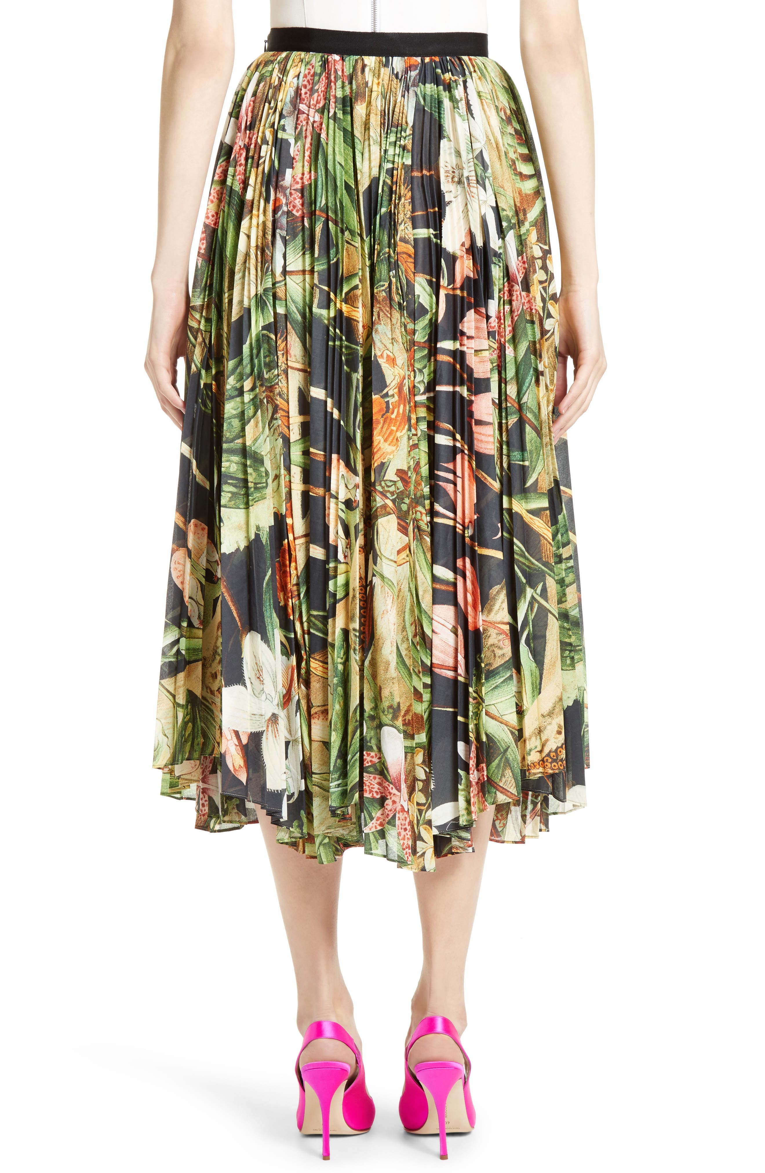 Print Cotton Voile Pleated Skirt,                             Alternate thumbnail 2, color,                             Black Orchid